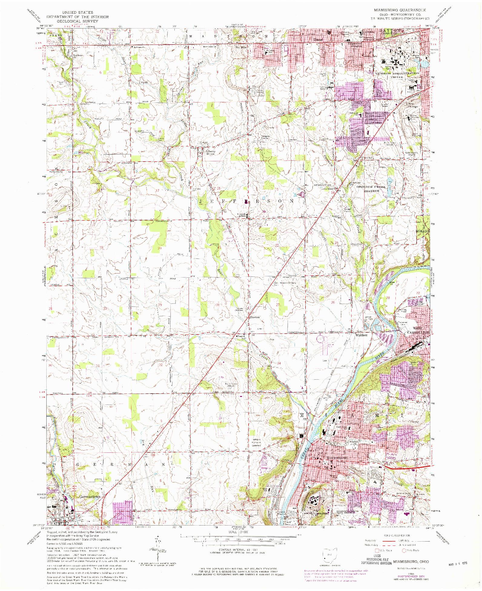 USGS 1:24000-SCALE QUADRANGLE FOR MIAMISBURG, OH 1965