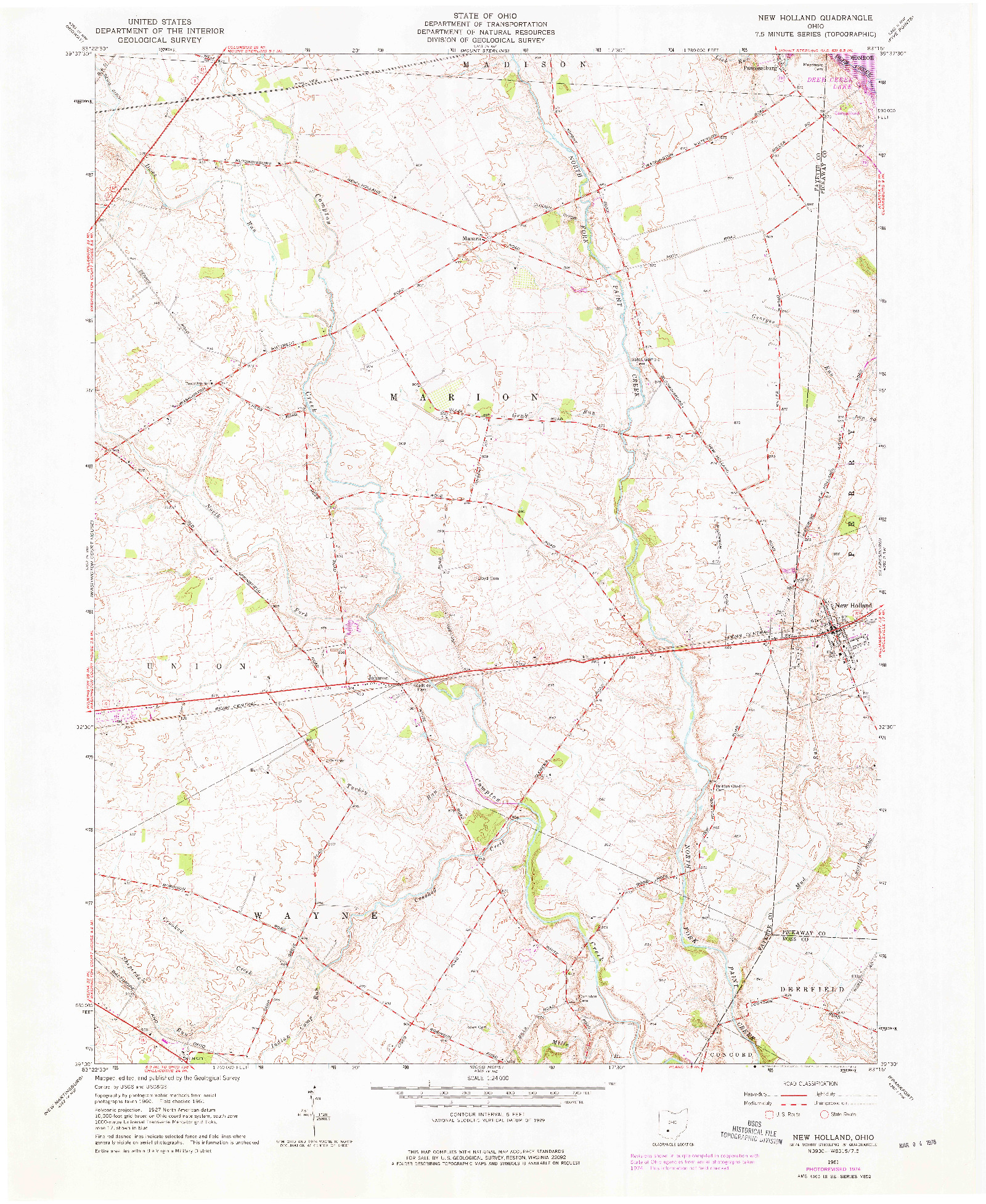 USGS 1:24000-SCALE QUADRANGLE FOR NEW HOLLAND, OH 1961