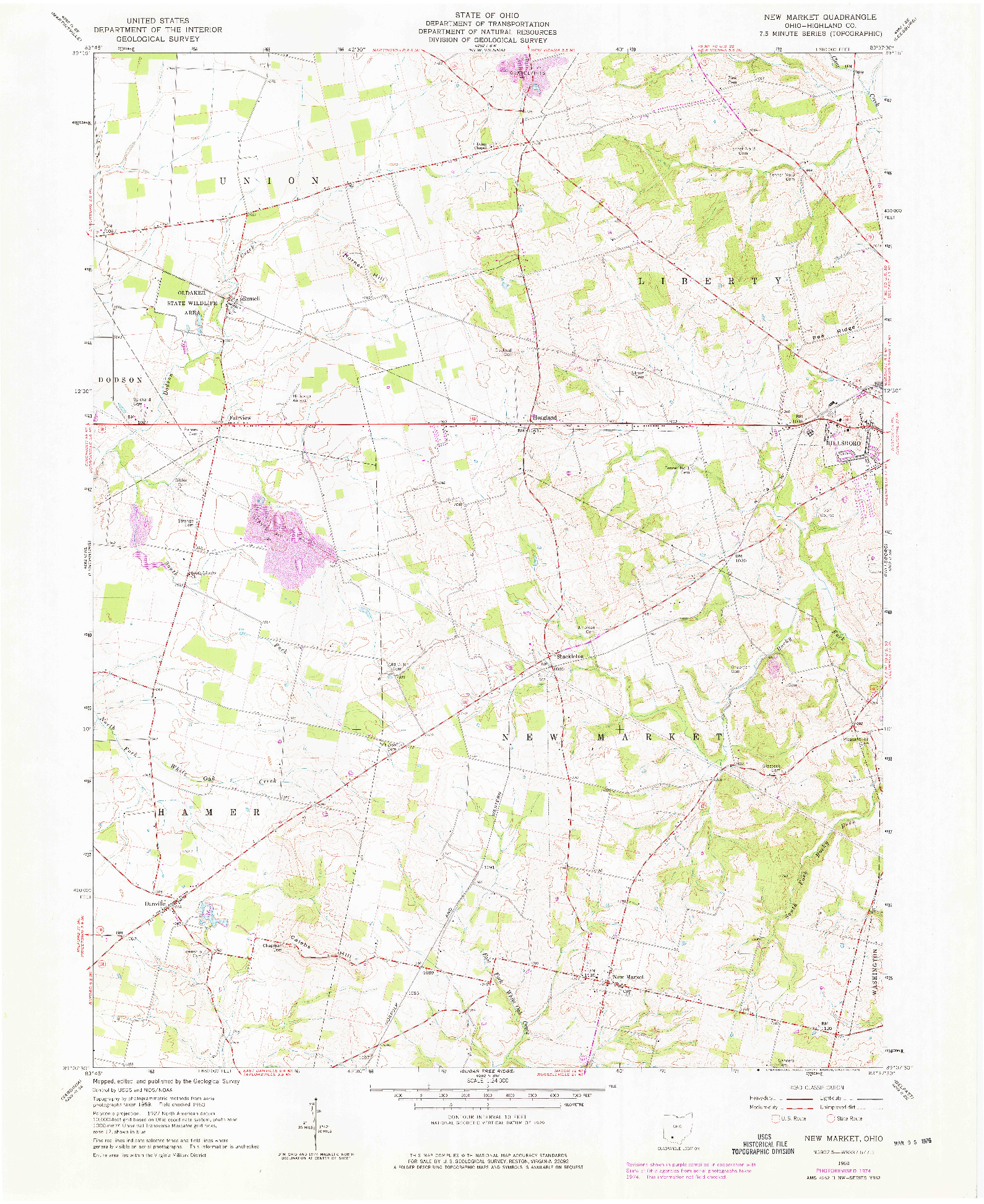 USGS 1:24000-SCALE QUADRANGLE FOR NEW MARKET, OH 1960