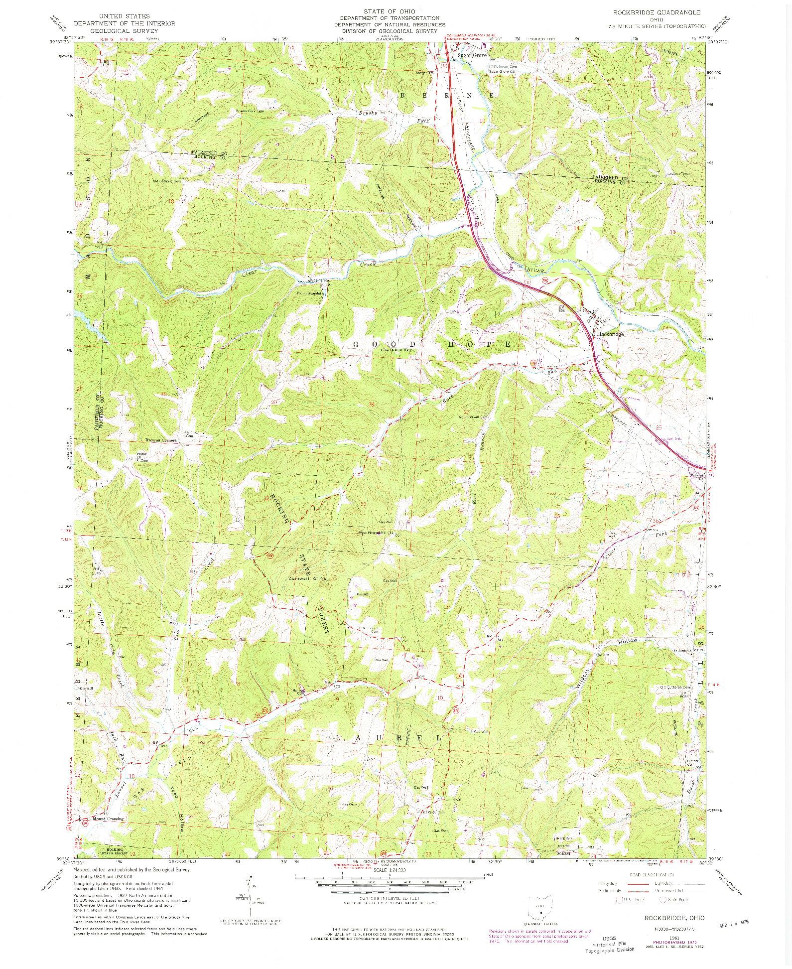 USGS 1:24000-SCALE QUADRANGLE FOR ROCKBRIDGE, OH 1961