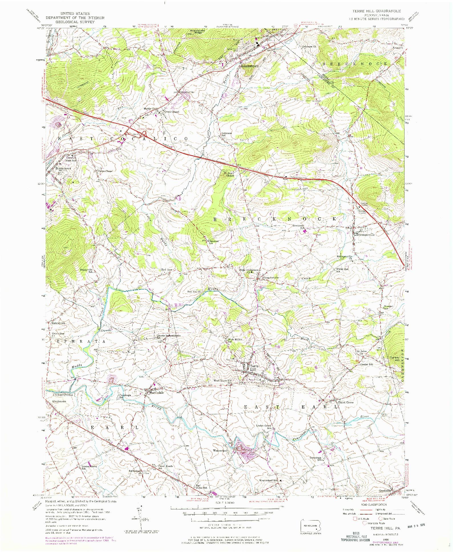 USGS 1:24000-SCALE QUADRANGLE FOR TERRE HILL, PA 1956