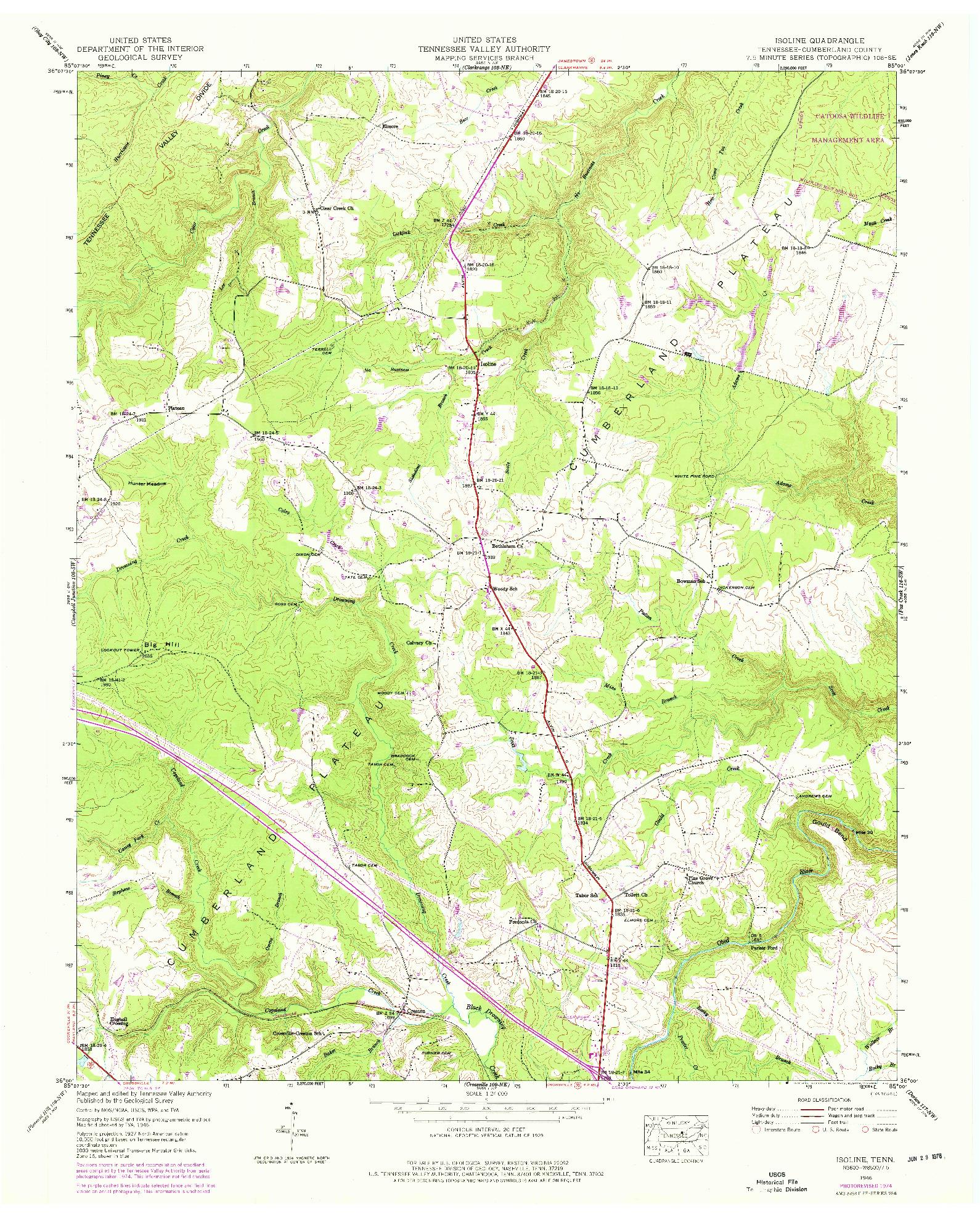 USGS 1:24000-SCALE QUADRANGLE FOR ISOLINE, TN 1946