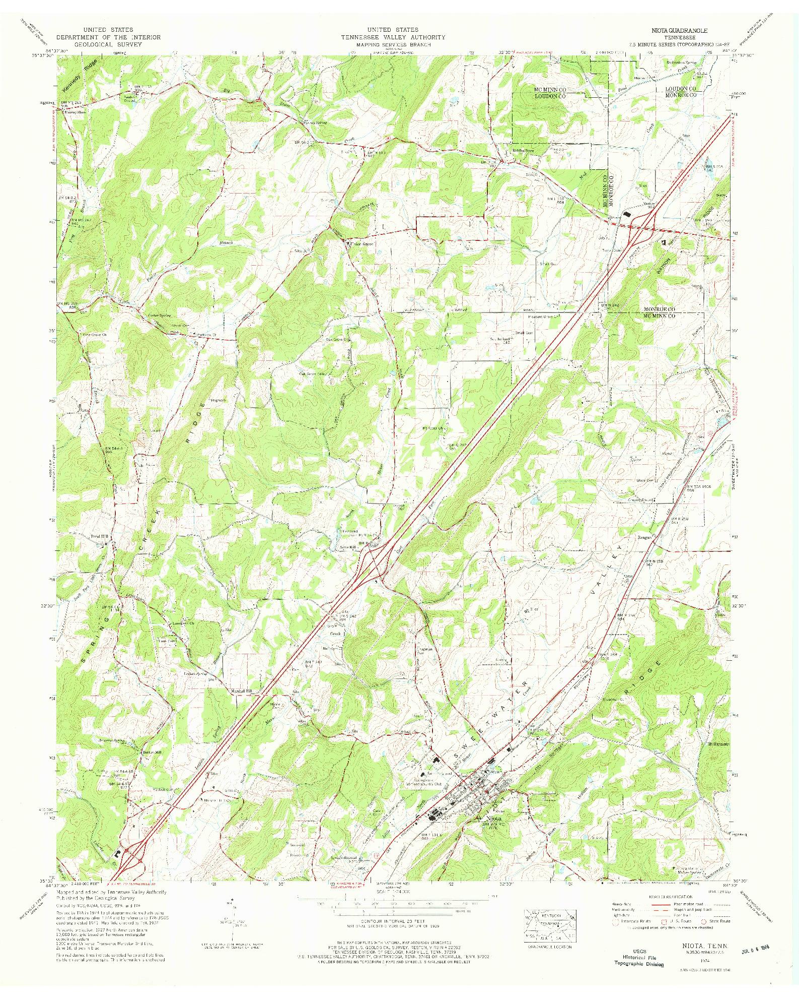USGS 1:24000-SCALE QUADRANGLE FOR NIOTA, TN 1974