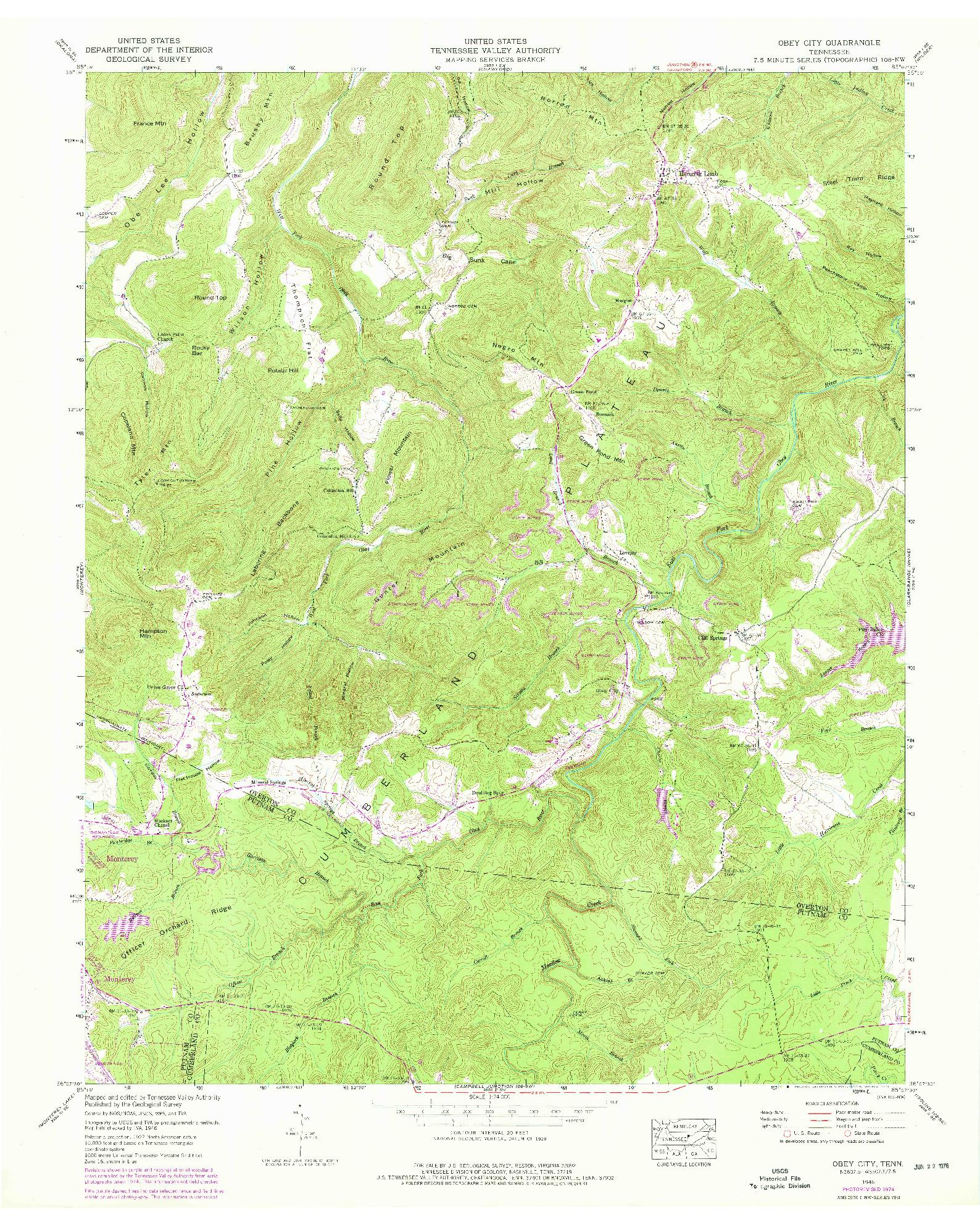 USGS 1:24000-SCALE QUADRANGLE FOR OBEY CITY, TN 1946