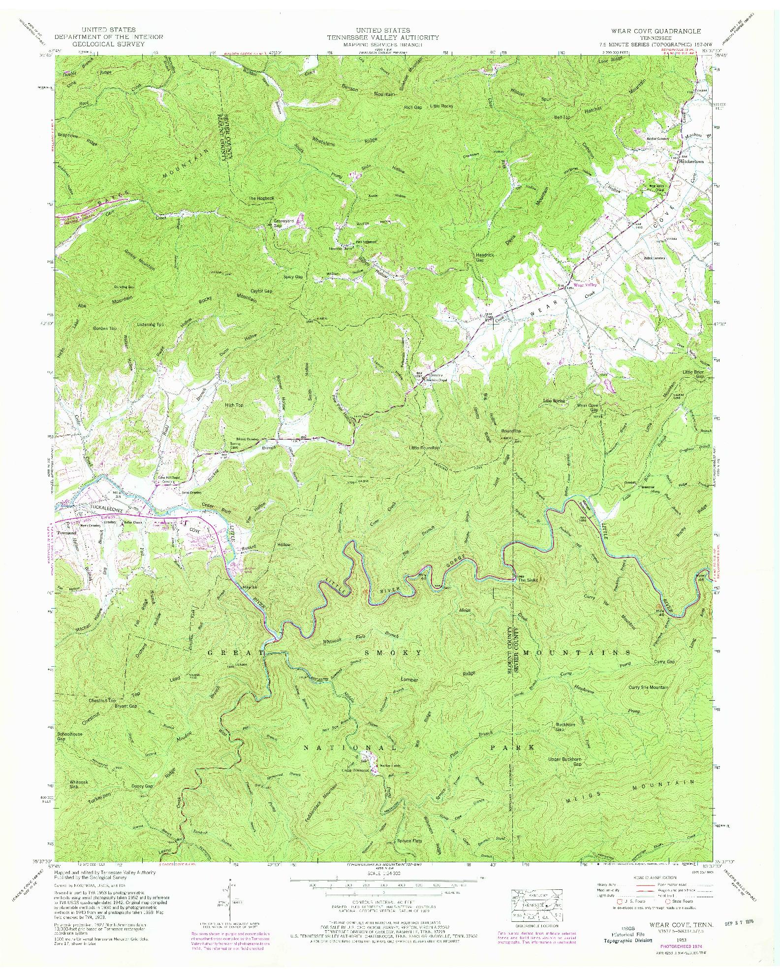 USGS 1:24000-SCALE QUADRANGLE FOR WEAR COVE, TN 1953