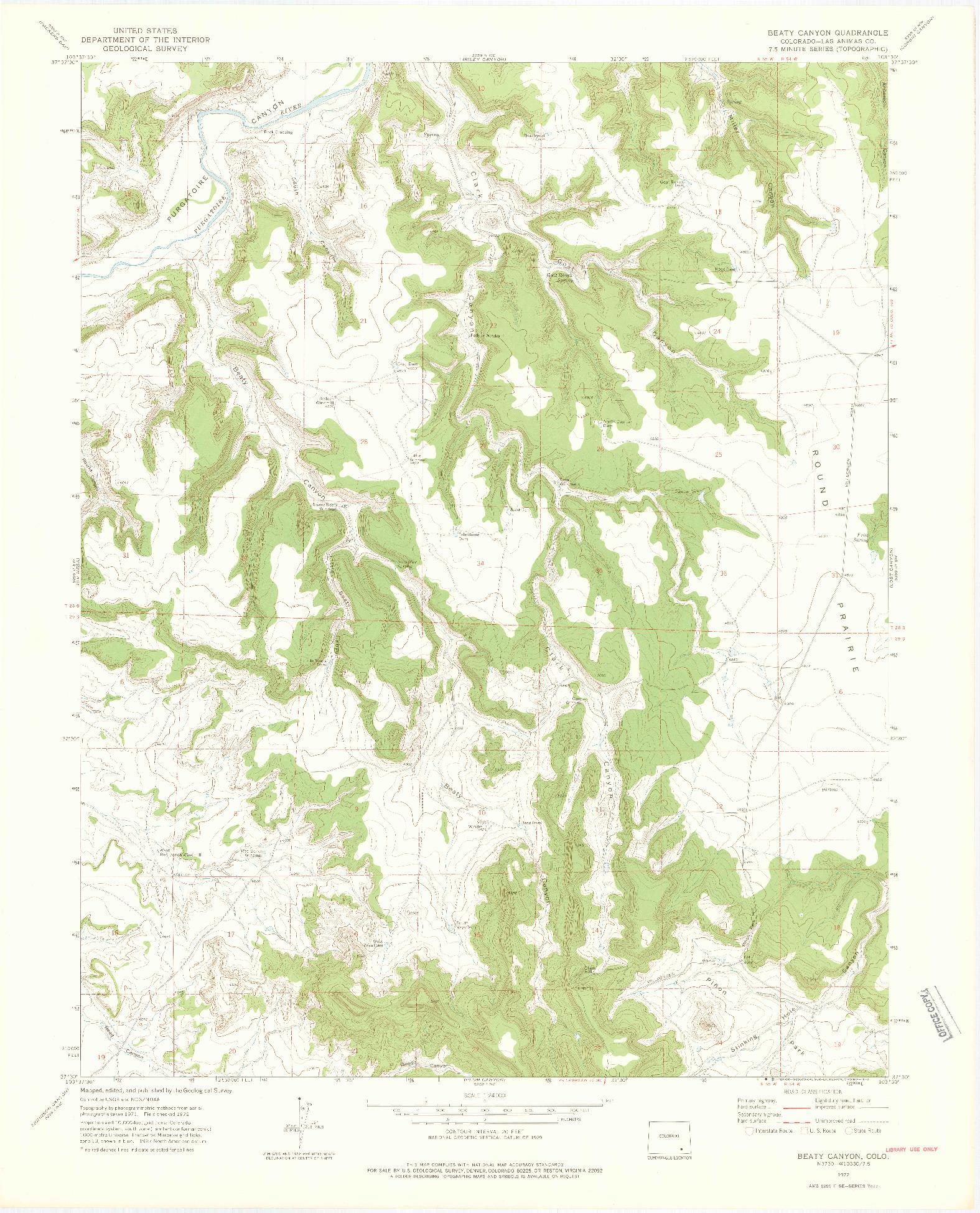 USGS 1:24000-SCALE QUADRANGLE FOR BEATY CANYON, CO 1972