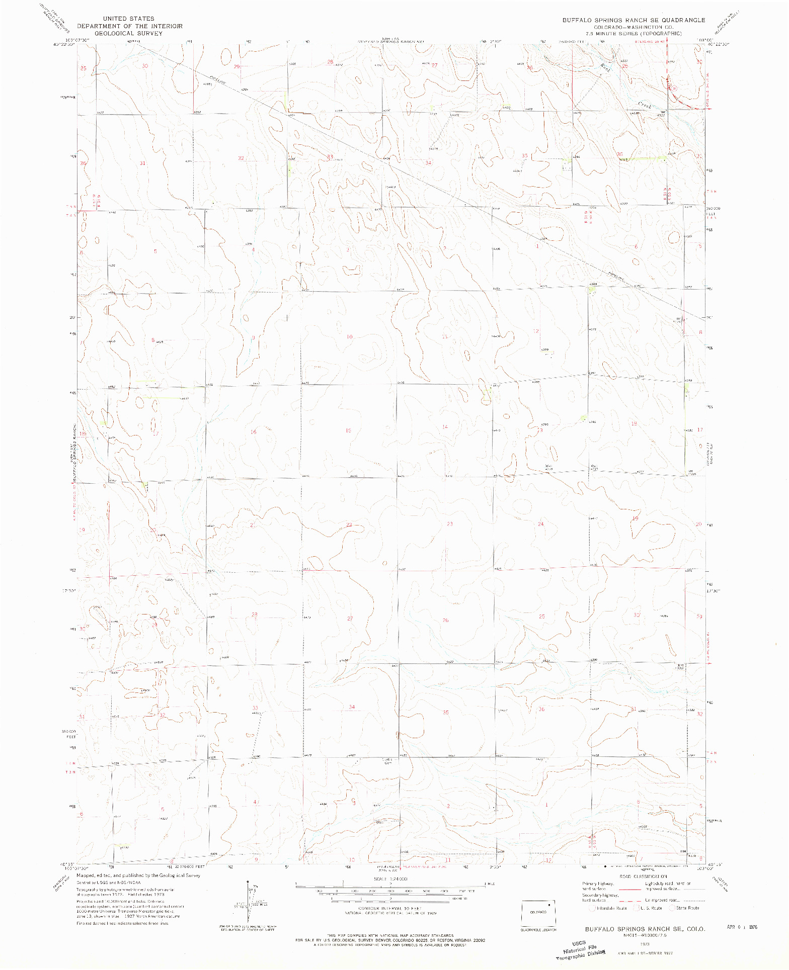 USGS 1:24000-SCALE QUADRANGLE FOR BUFFALO SPRINGS RANCH SE, CO 1973