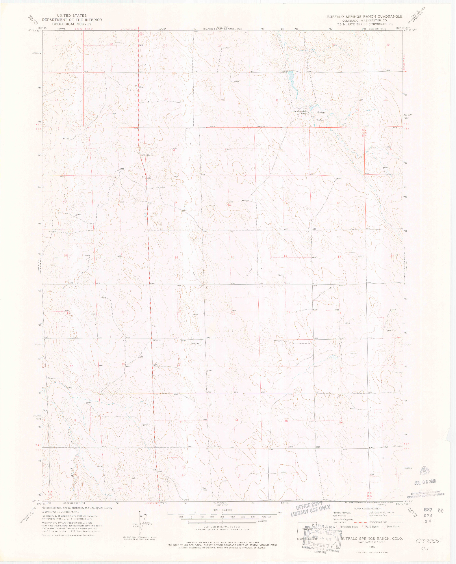 USGS 1:24000-SCALE QUADRANGLE FOR BUFFALO SPRINGS RANCH, CO 1973