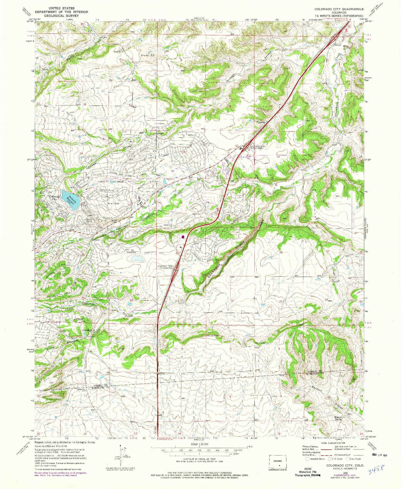 USGS 1:24000-SCALE QUADRANGLE FOR COLORADO CITY, CO 1969