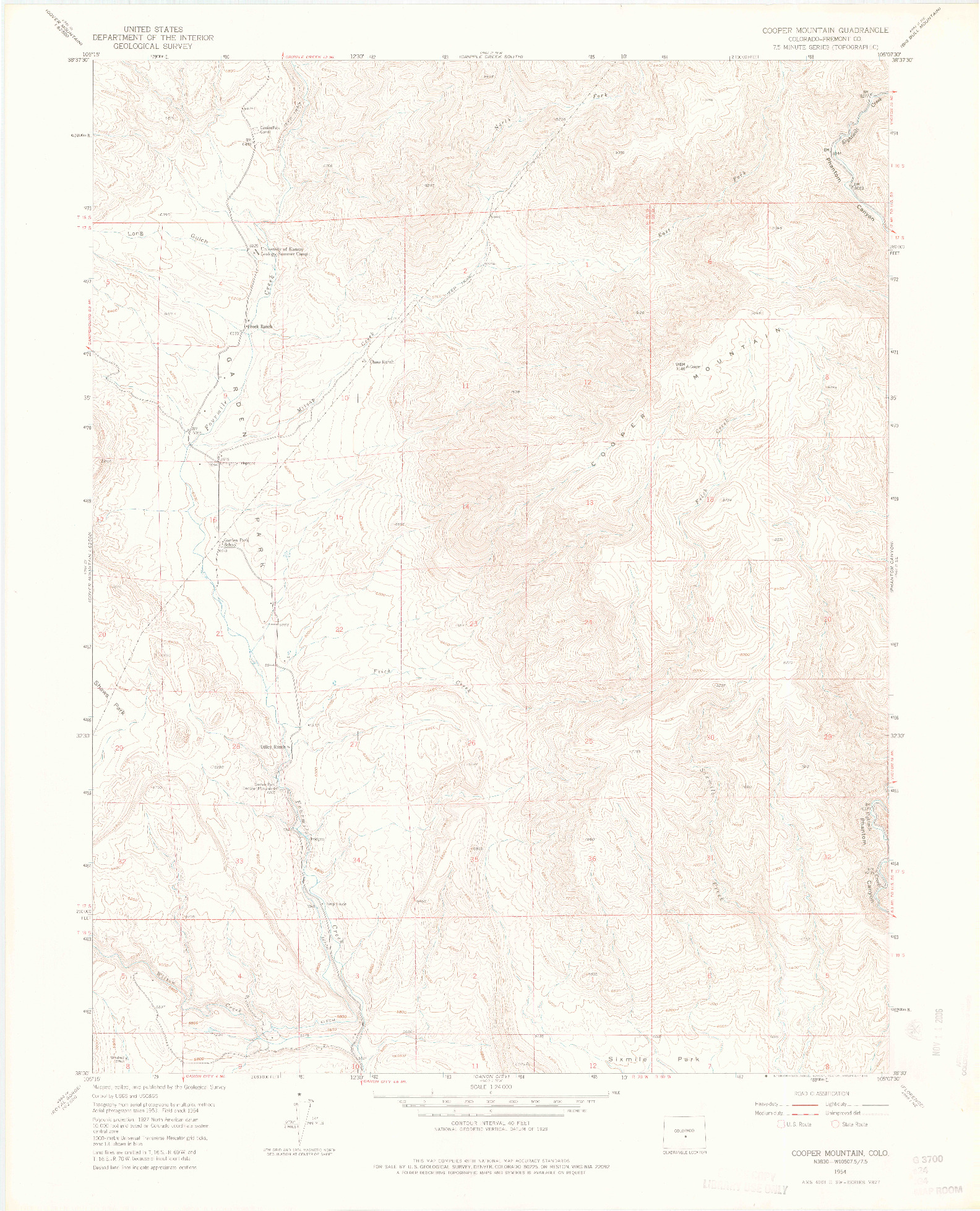 USGS 1:24000-SCALE QUADRANGLE FOR COOPER MOUNTAIN, CO 1954