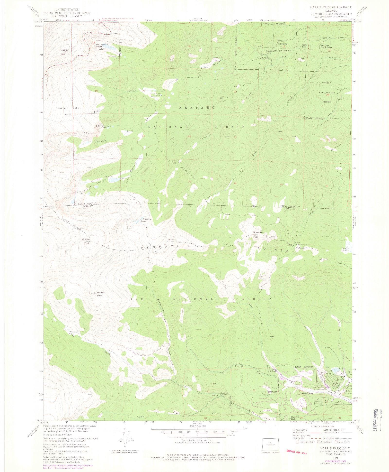 USGS 1:24000-SCALE QUADRANGLE FOR HARRIS PARK, CO 1957