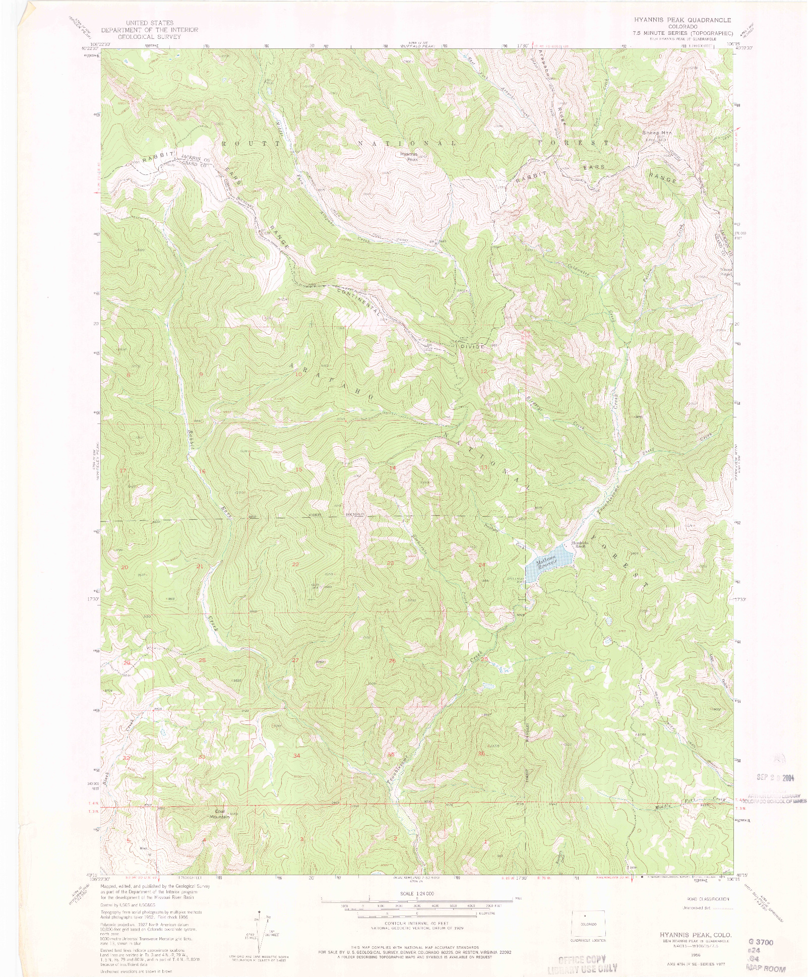 USGS 1:24000-SCALE QUADRANGLE FOR HYANNIS PEAK, CO 1956