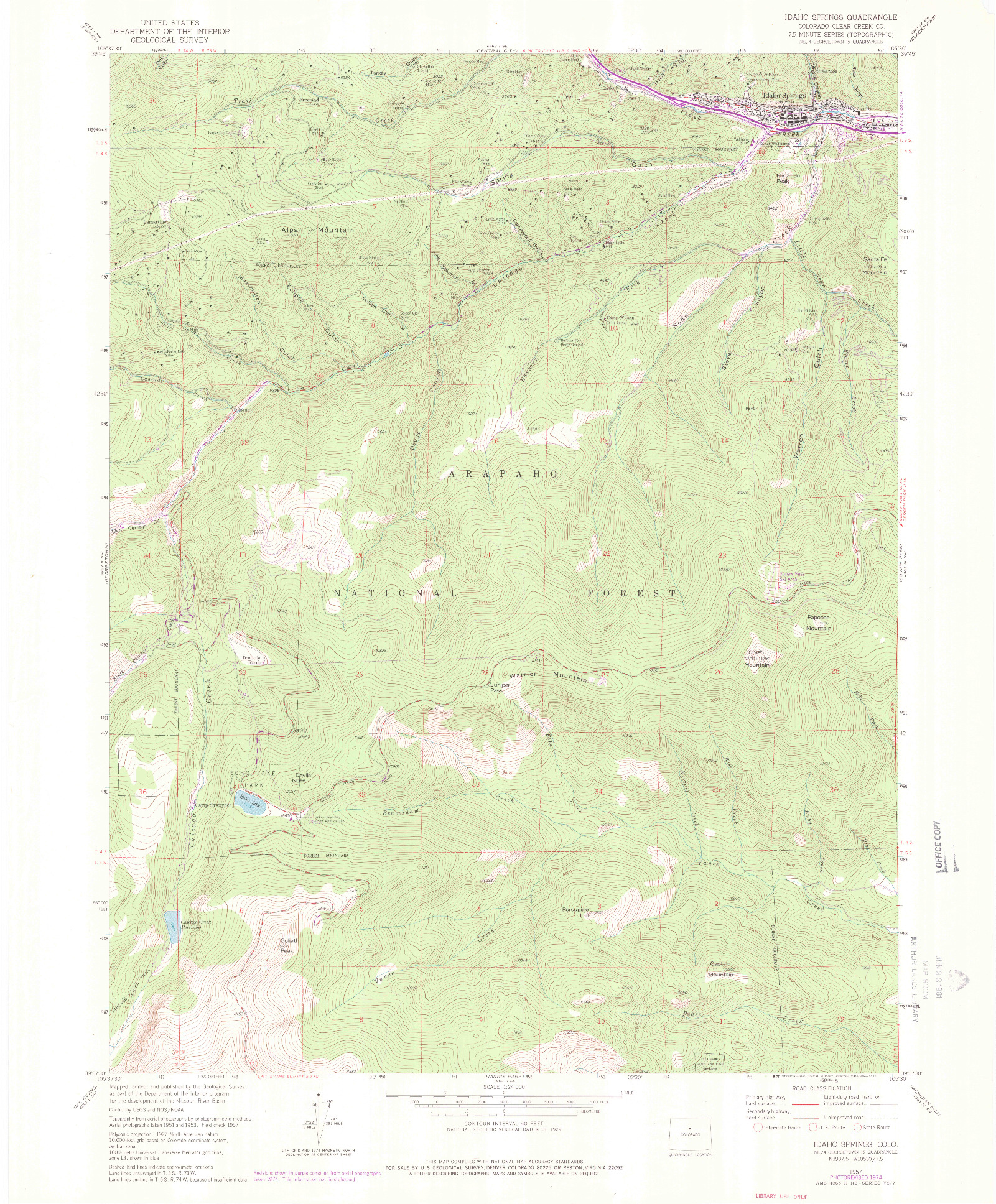 USGS 1:24000-SCALE QUADRANGLE FOR IDAHO SPRINGS, CO 1957