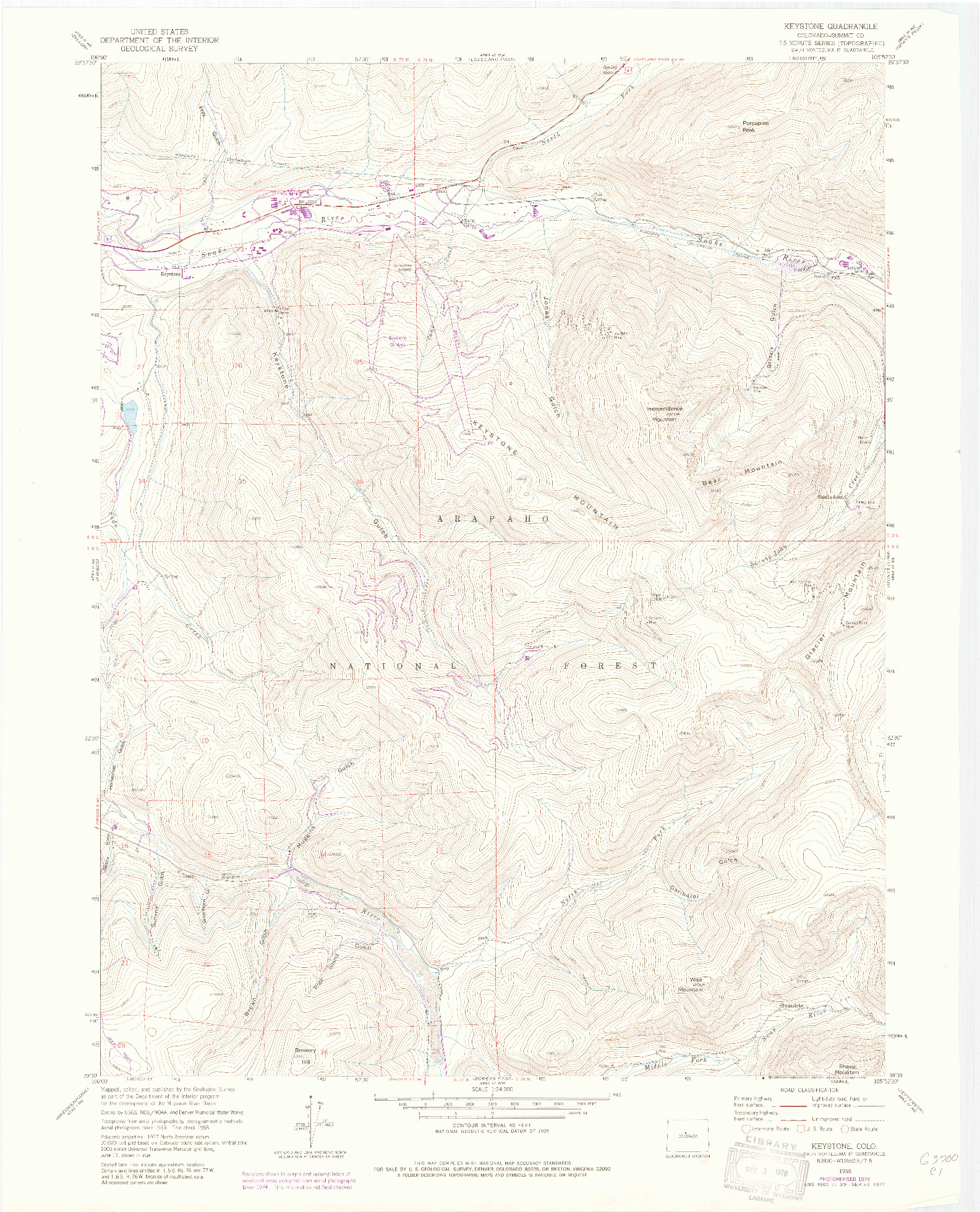 USGS 1:24000-SCALE QUADRANGLE FOR KEYSTONE, CO 1958