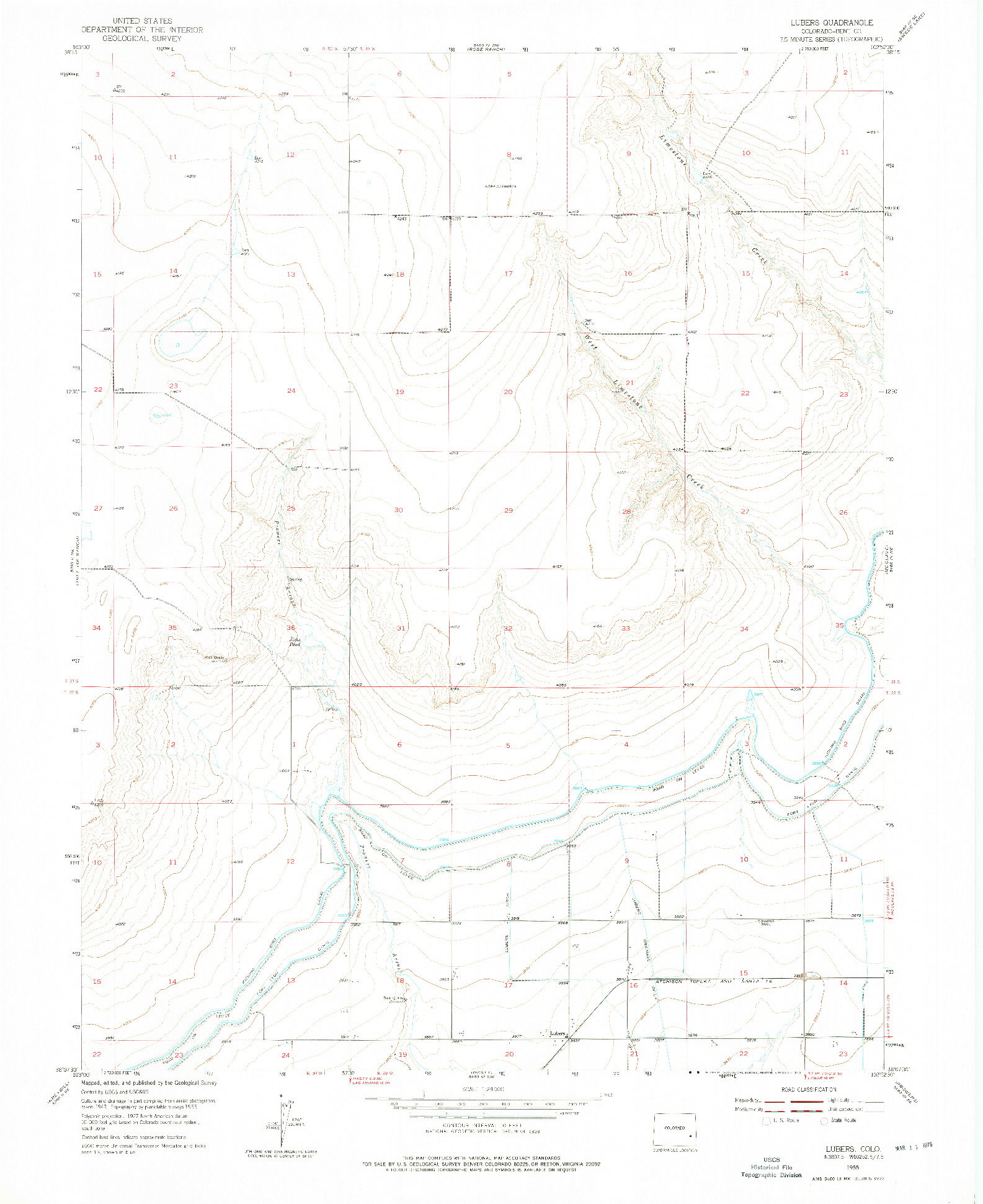 USGS 1:24000-SCALE QUADRANGLE FOR LUBERS, CO 1955
