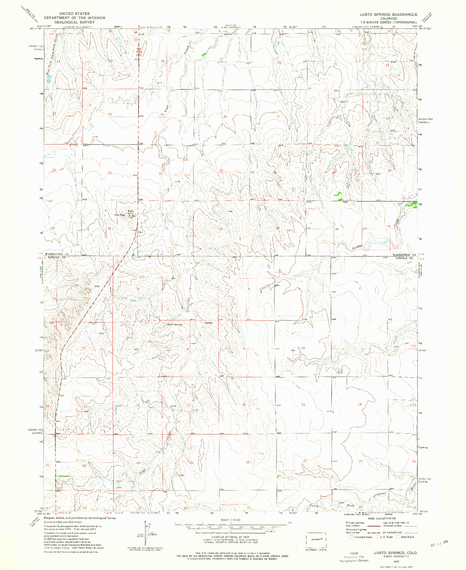 USGS 1:24000-SCALE QUADRANGLE FOR LUSTO SPRINGS, CO 1973