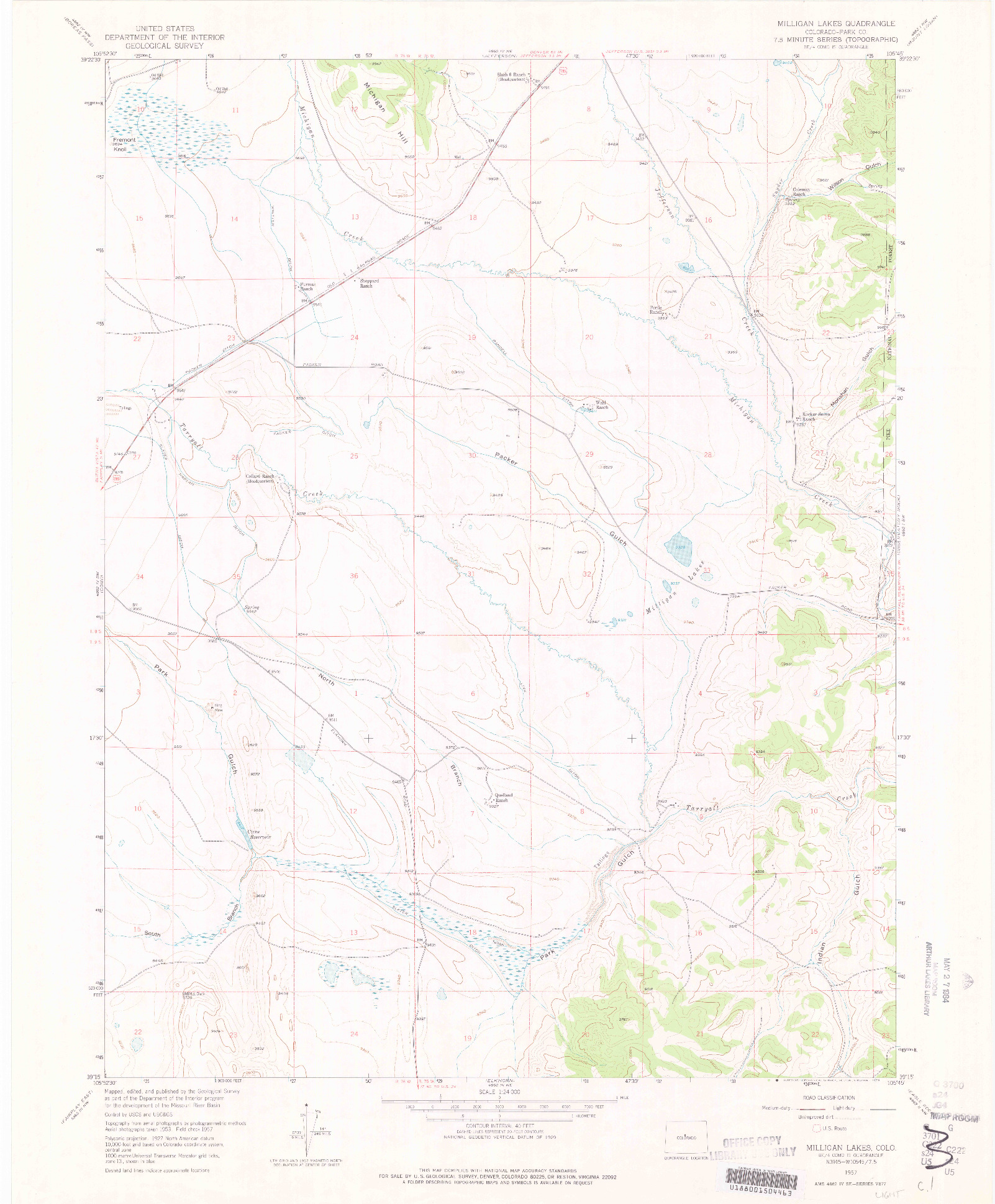 USGS 1:24000-SCALE QUADRANGLE FOR MILLIGAN LAKES, CO 1957