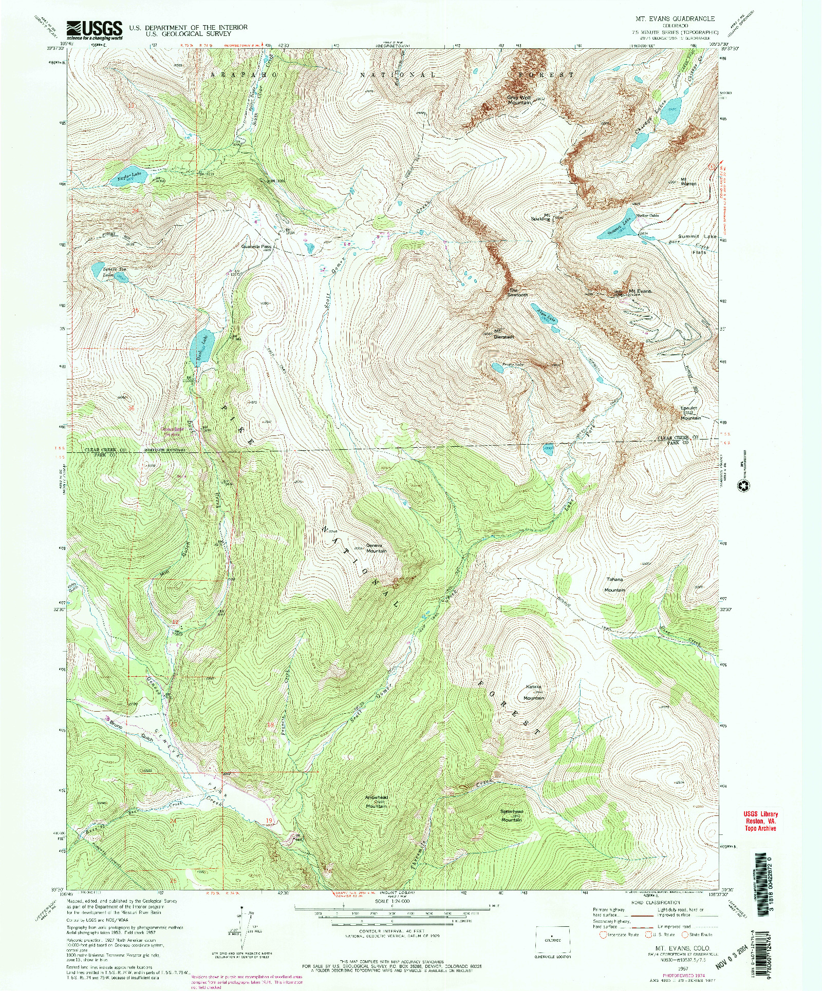USGS 1:24000-SCALE QUADRANGLE FOR MT EVANS, CO 1957