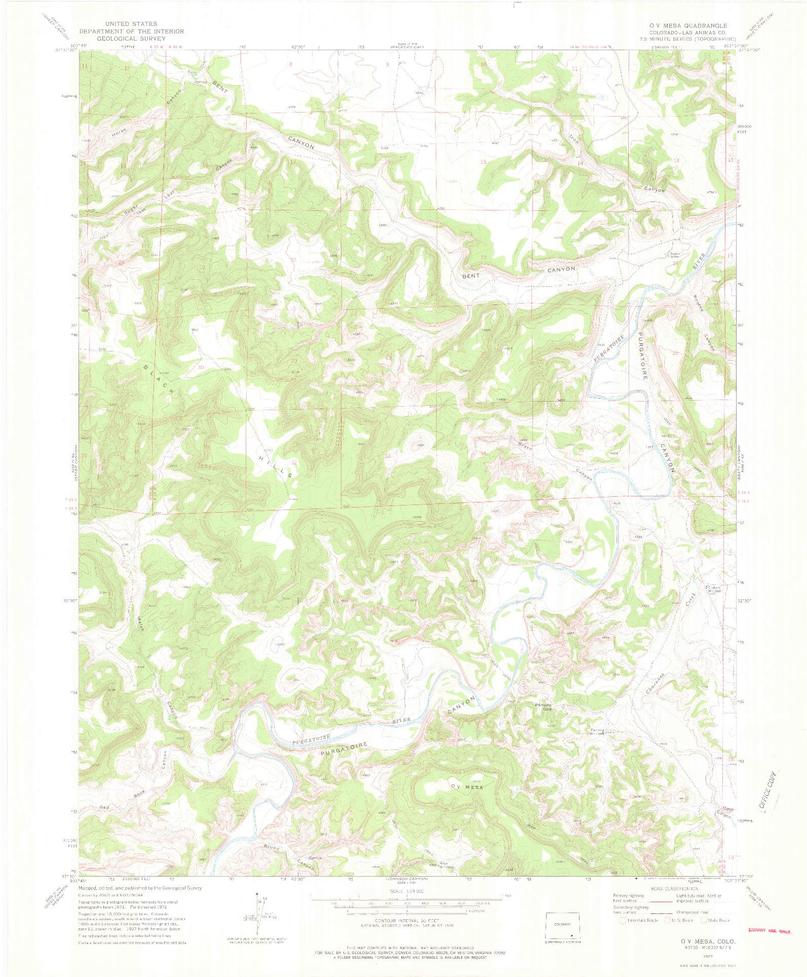 USGS 1:24000-SCALE QUADRANGLE FOR O V MESA, CO 1972