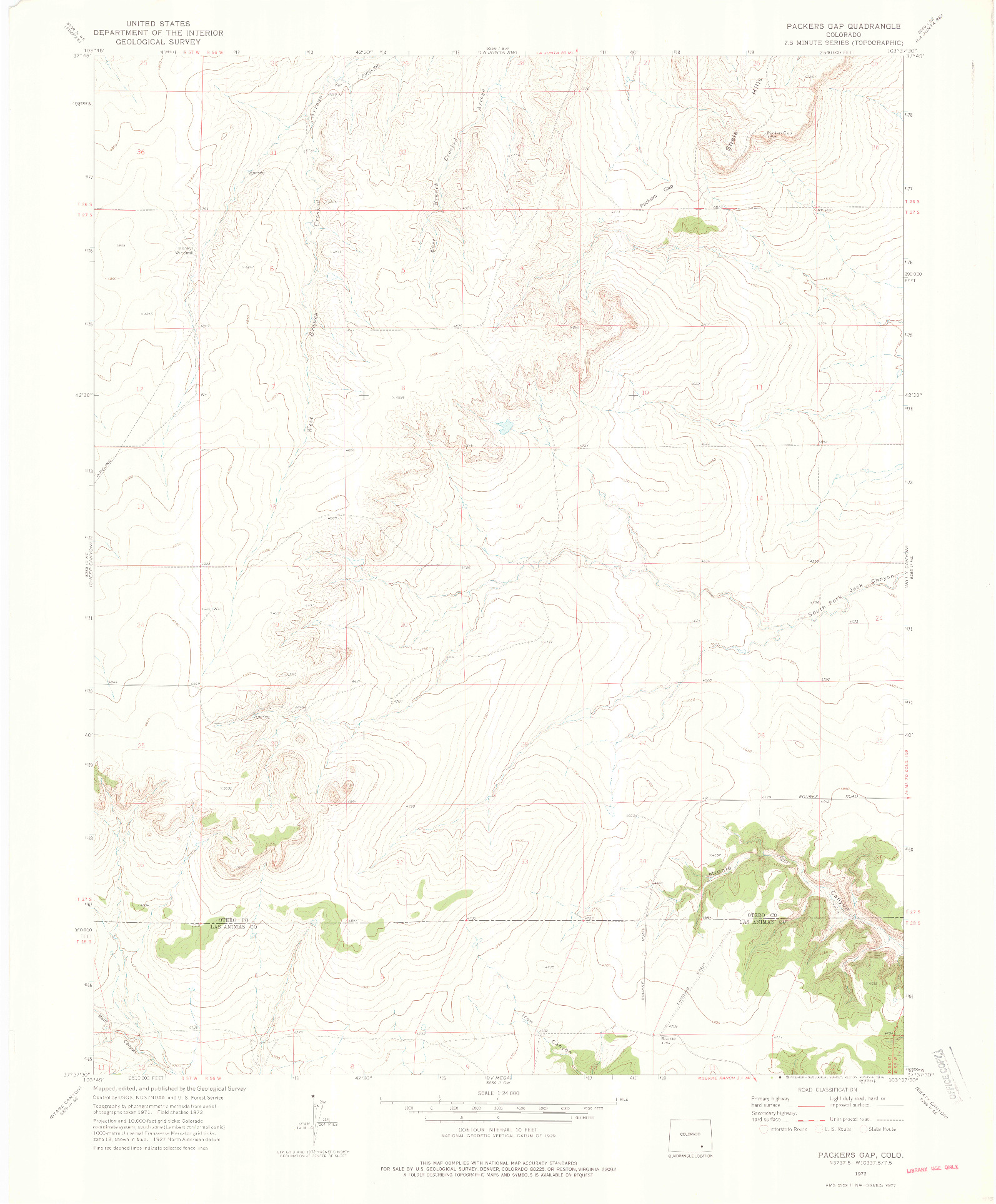 USGS 1:24000-SCALE QUADRANGLE FOR PACKERS GAP, CO 1972