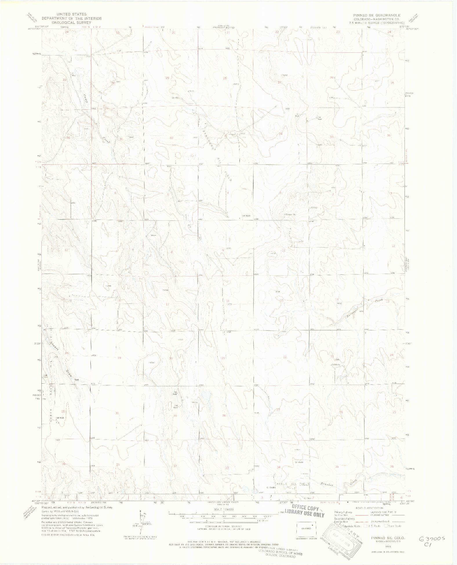 USGS 1:24000-SCALE QUADRANGLE FOR PINNEO SE, CO 1973