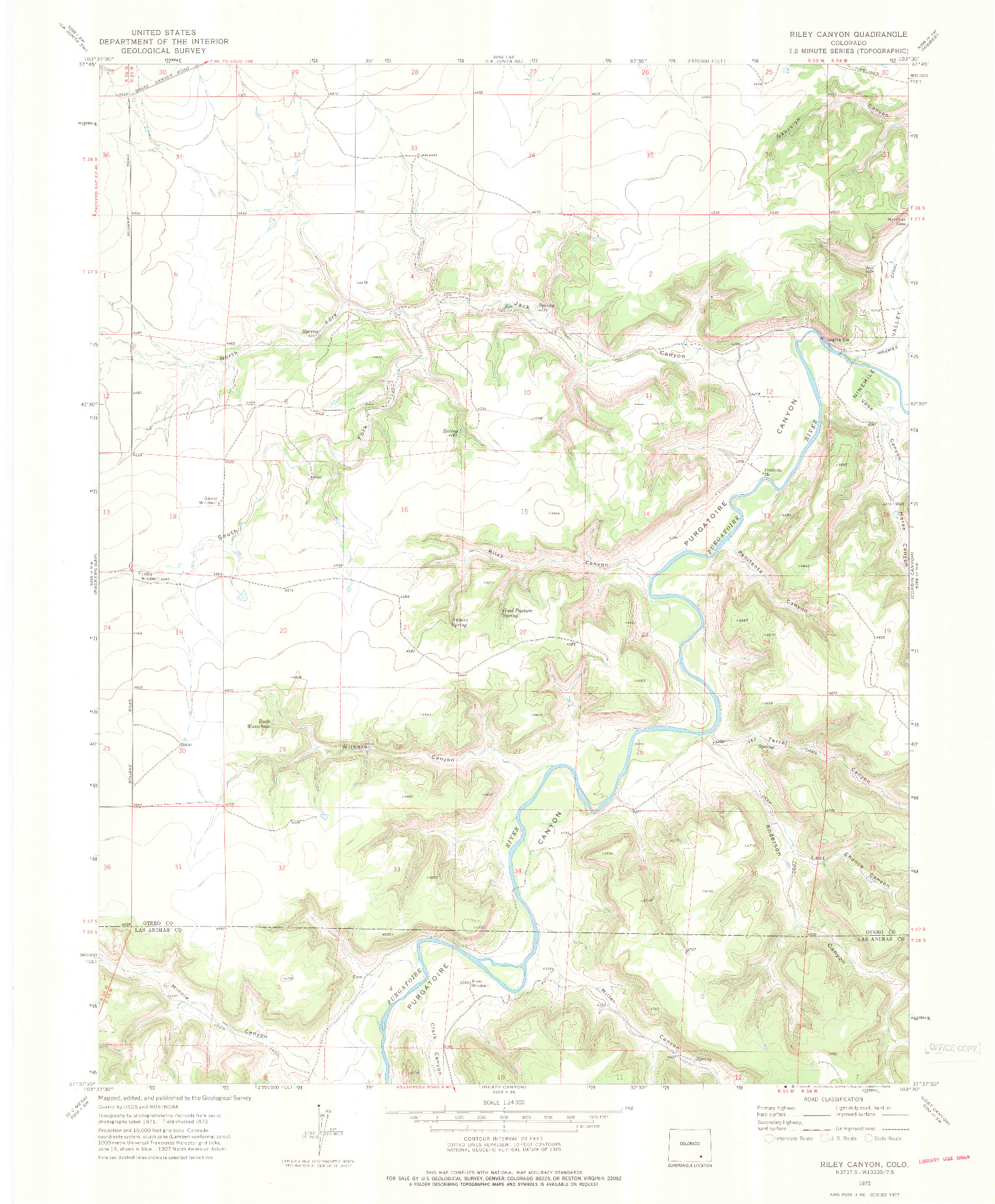 USGS 1:24000-SCALE QUADRANGLE FOR RILEY CANYON, CO 1972