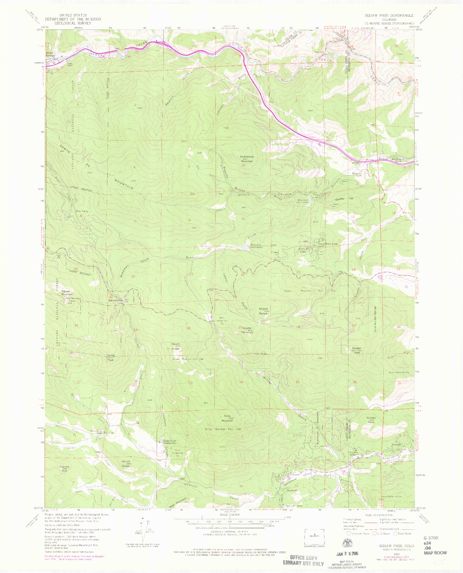 USGS 1:24000-SCALE QUADRANGLE FOR SQUAW PASS, CO 1957