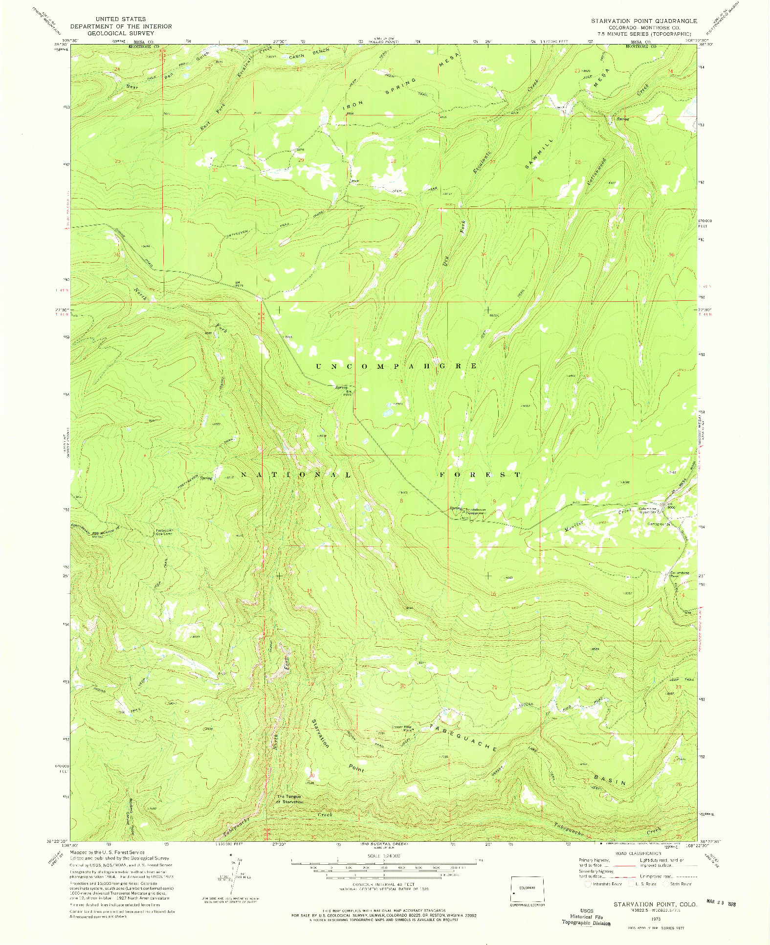 USGS 1:24000-SCALE QUADRANGLE FOR STARVATION POINT, CO 1973