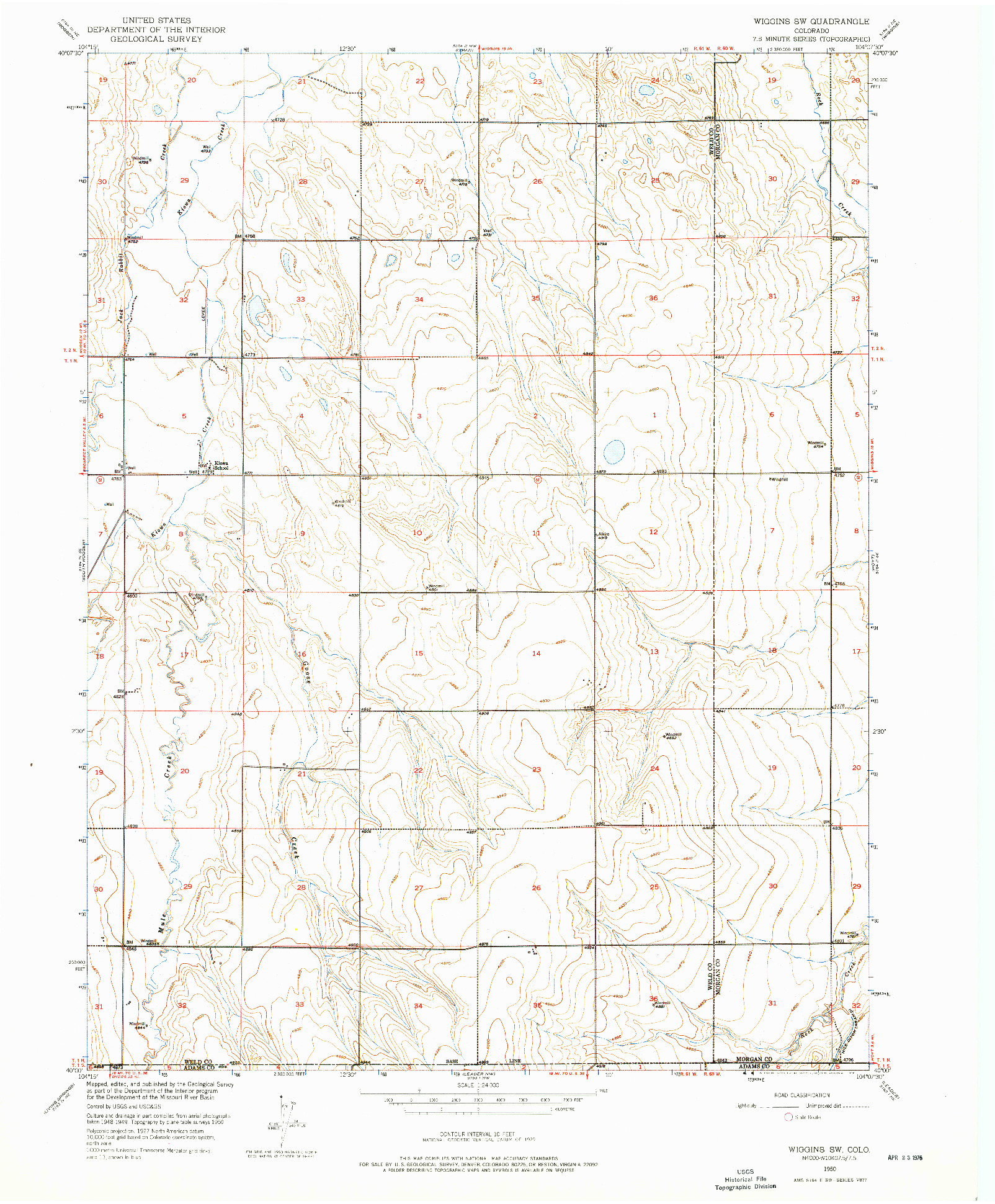 USGS 1:24000-SCALE QUADRANGLE FOR WIGGINS SW, CO 1950