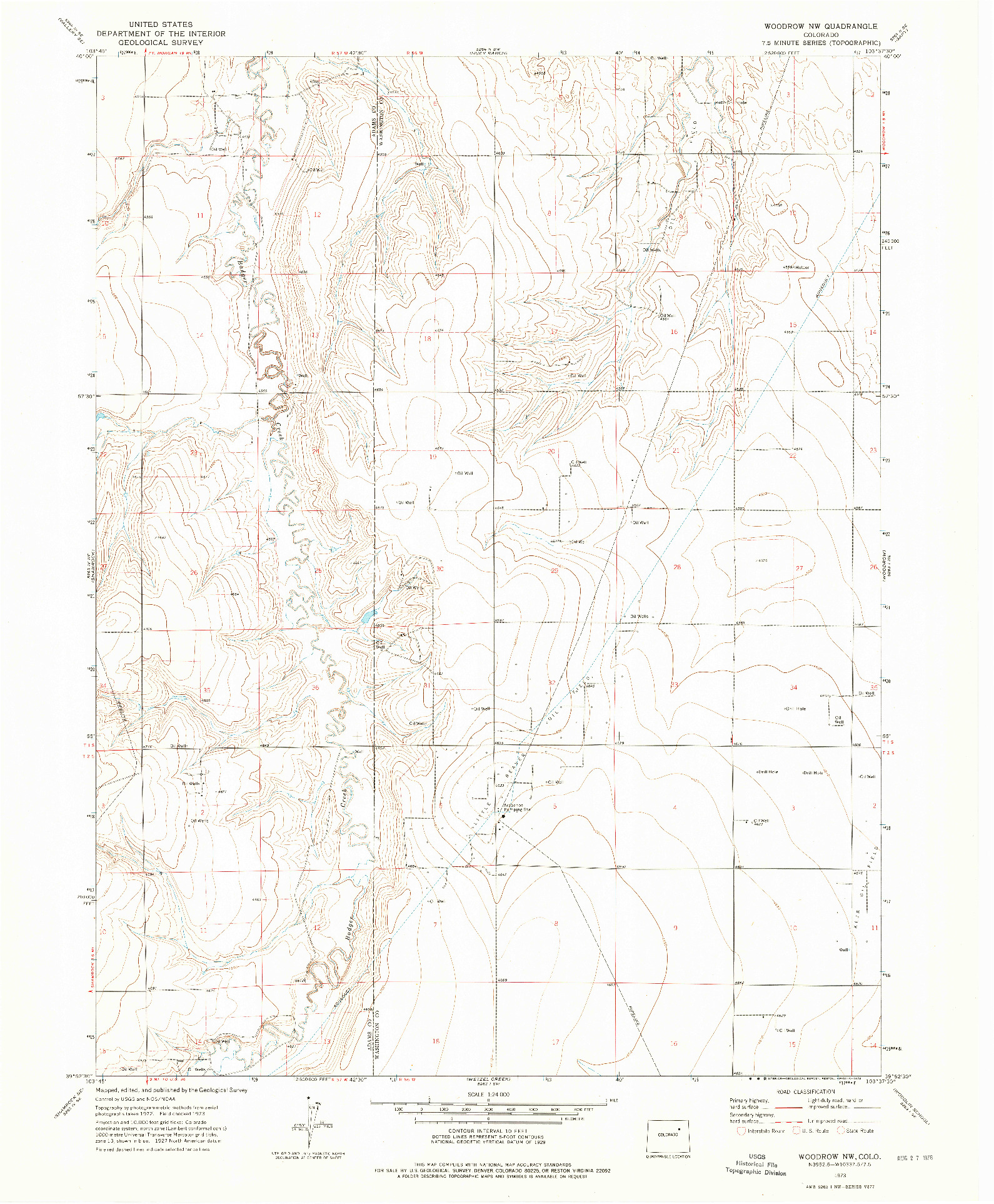 USGS 1:24000-SCALE QUADRANGLE FOR WOODROW NW, CO 1973