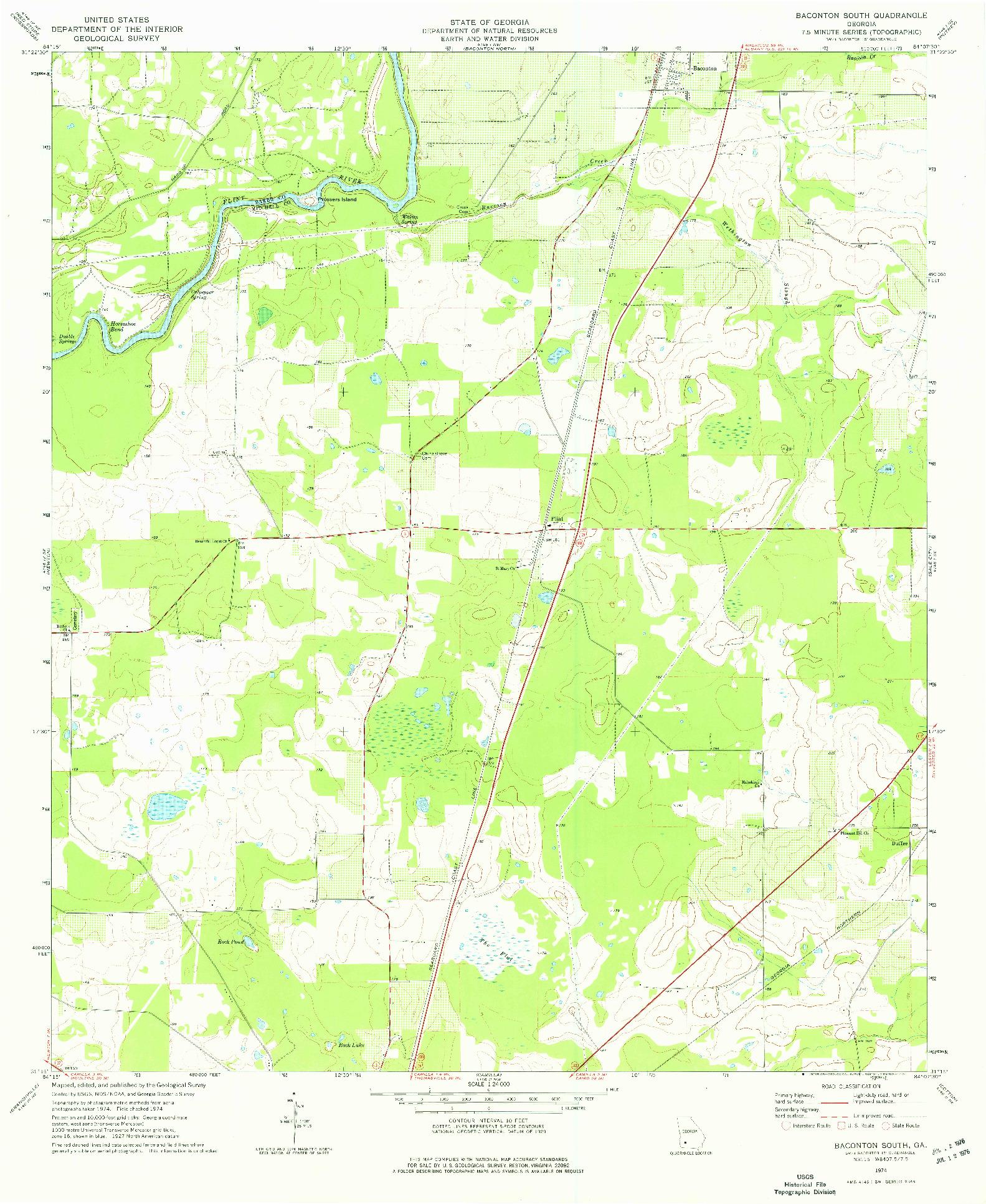 USGS 1:24000-SCALE QUADRANGLE FOR BACONTON SOUTH, GA 1974