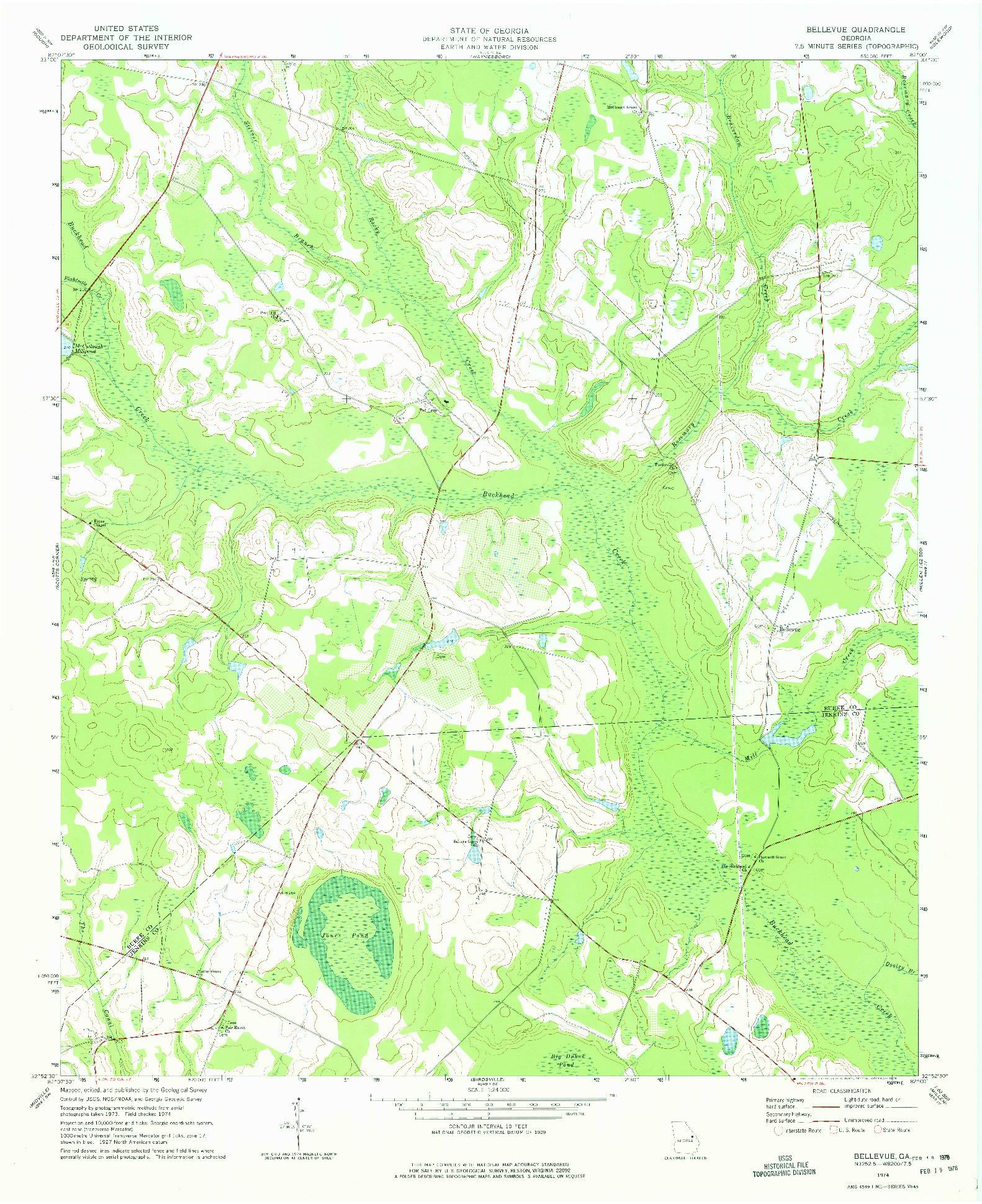 USGS 1:24000-SCALE QUADRANGLE FOR BELLEVUE, GA 1974