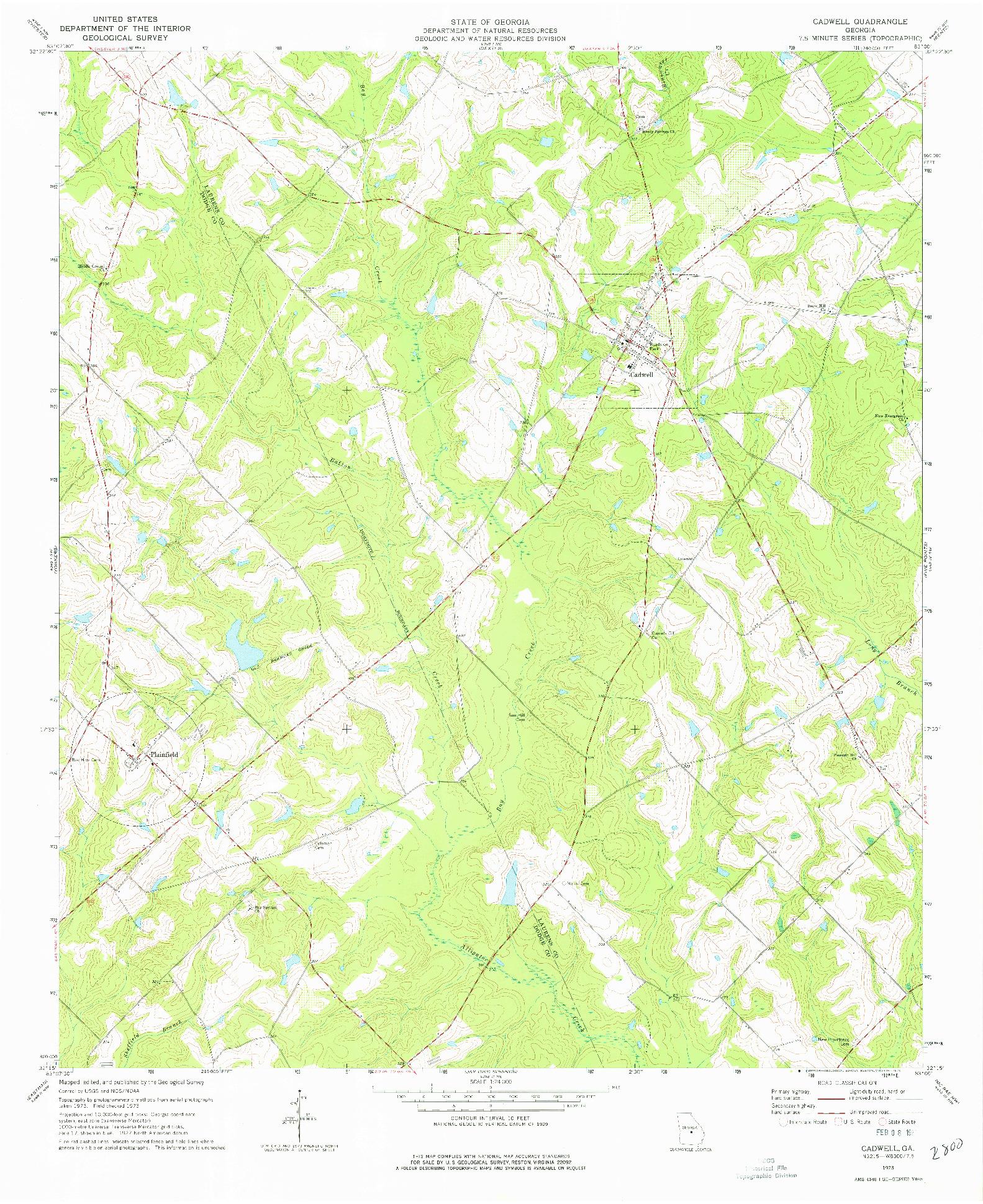 USGS 1:24000-SCALE QUADRANGLE FOR CADWELL, GA 1973