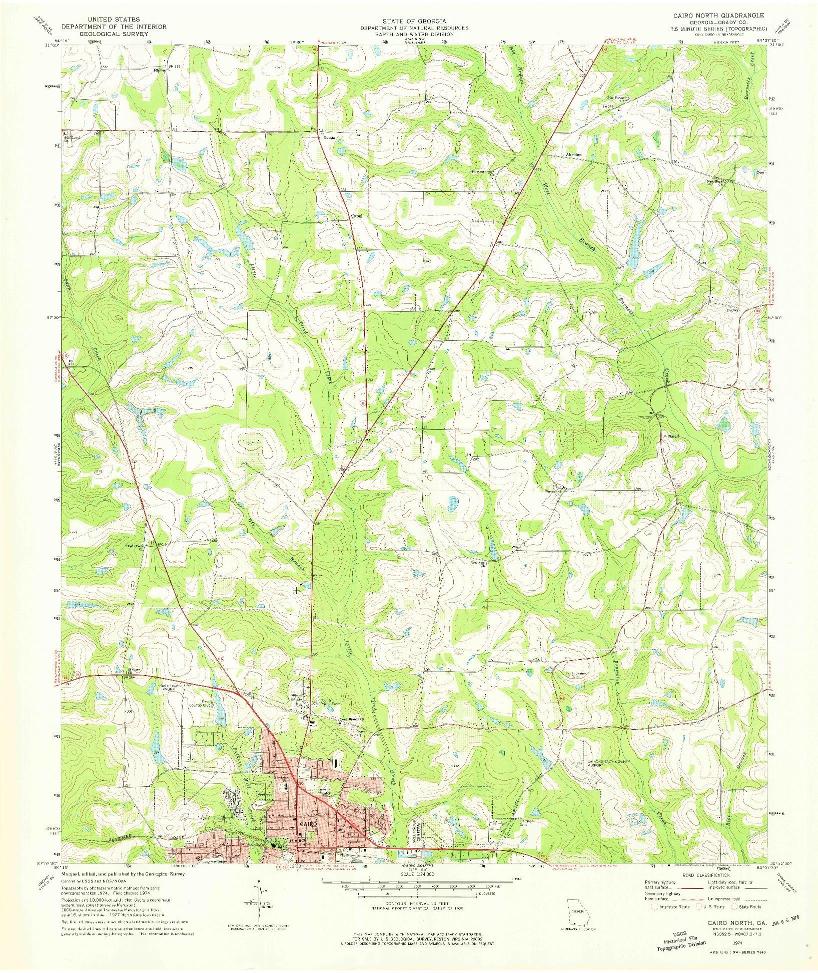 USGS 1:24000-SCALE QUADRANGLE FOR CAIRO NORTH, GA 1974