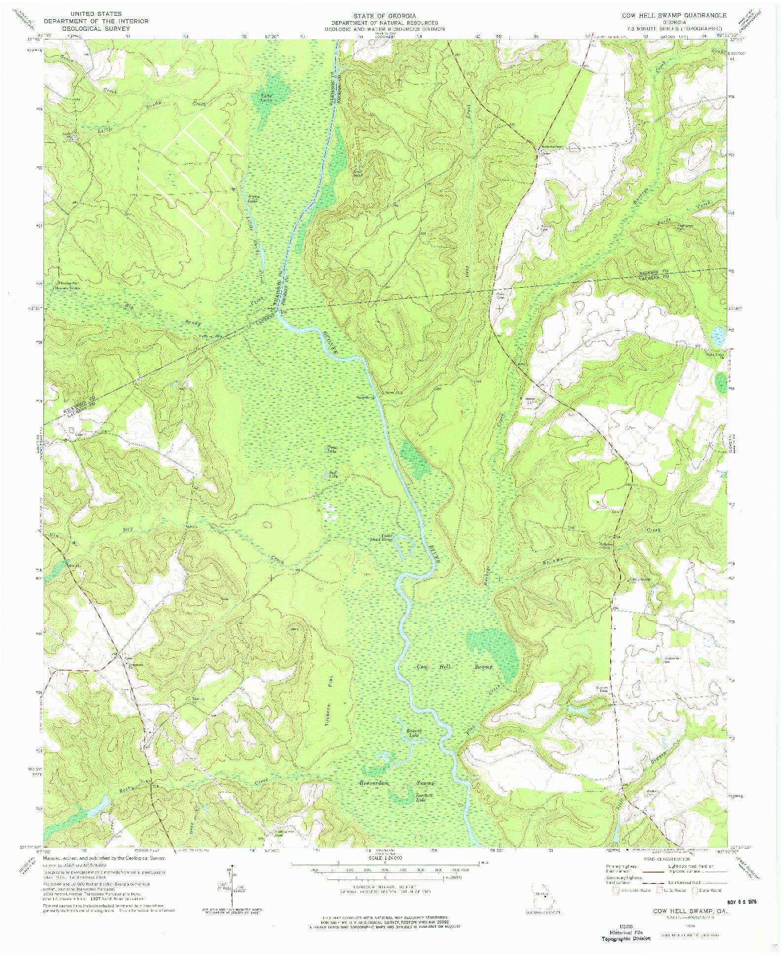 USGS 1:24000-SCALE QUADRANGLE FOR COW HELL SWAMP, GA 1974