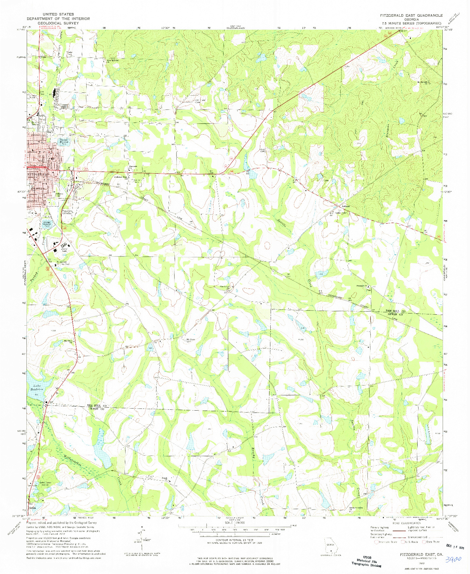 USGS 1:24000-SCALE QUADRANGLE FOR FITZGERALD EAST, GA 1972