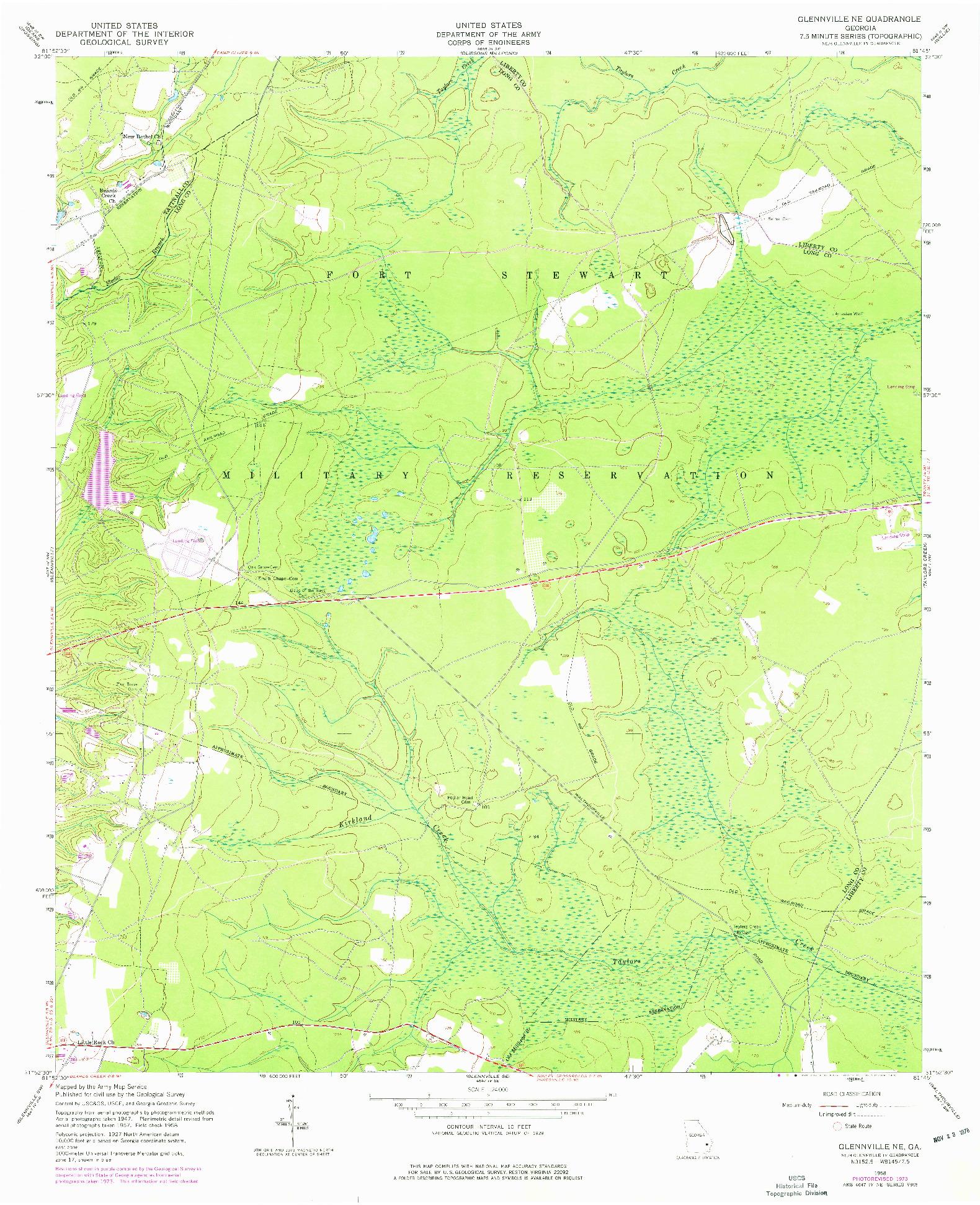 USGS 1:24000-SCALE QUADRANGLE FOR GLENNVILLE NE, GA 1958