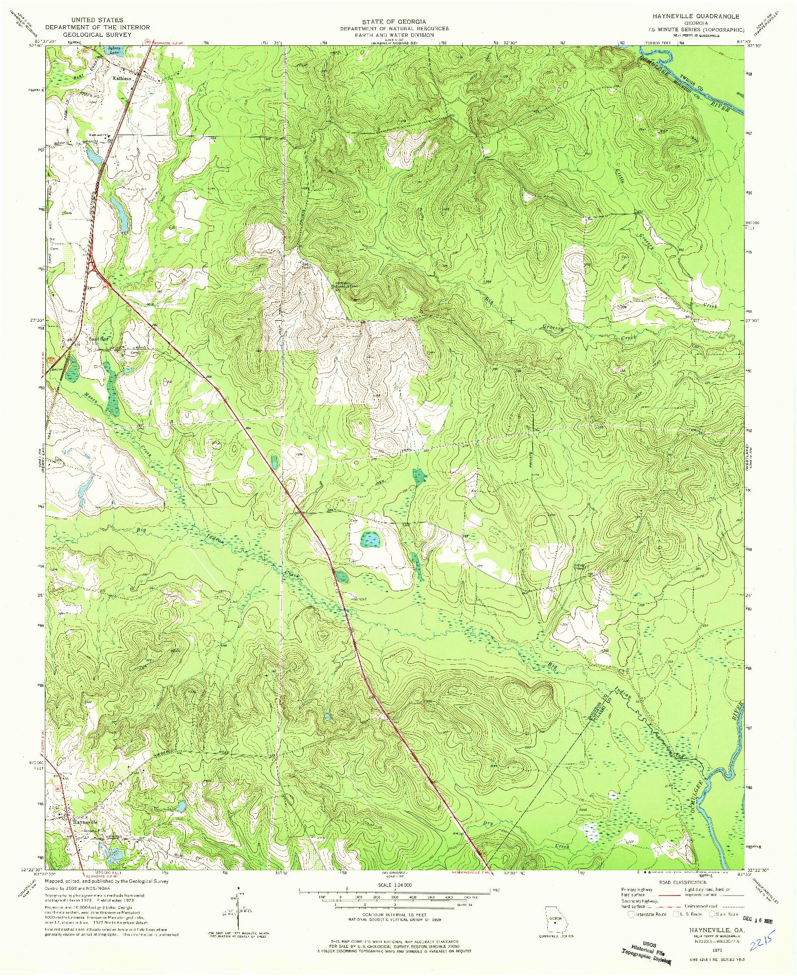 USGS 1:24000-SCALE QUADRANGLE FOR HAYNEVILLE, GA 1973