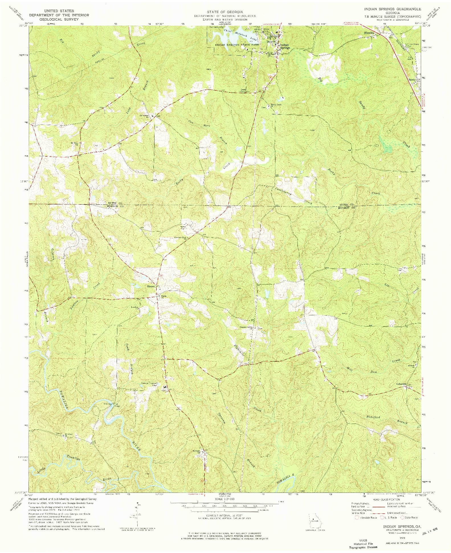 USGS 1:24000-SCALE QUADRANGLE FOR INDIAN SPRINGS, GA 1973