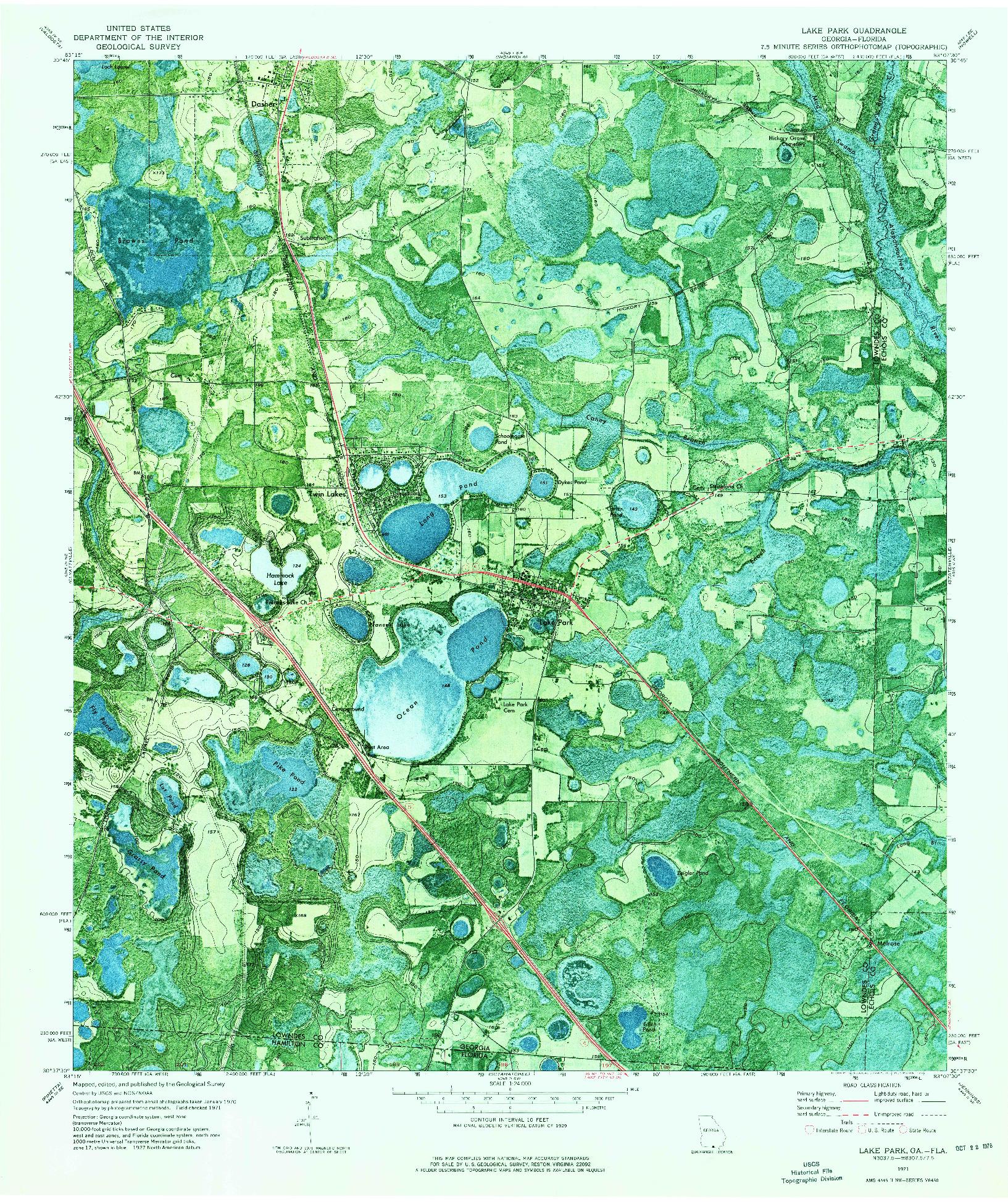 USGS 1:24000-SCALE QUADRANGLE FOR LAKE PARK, GA 1971