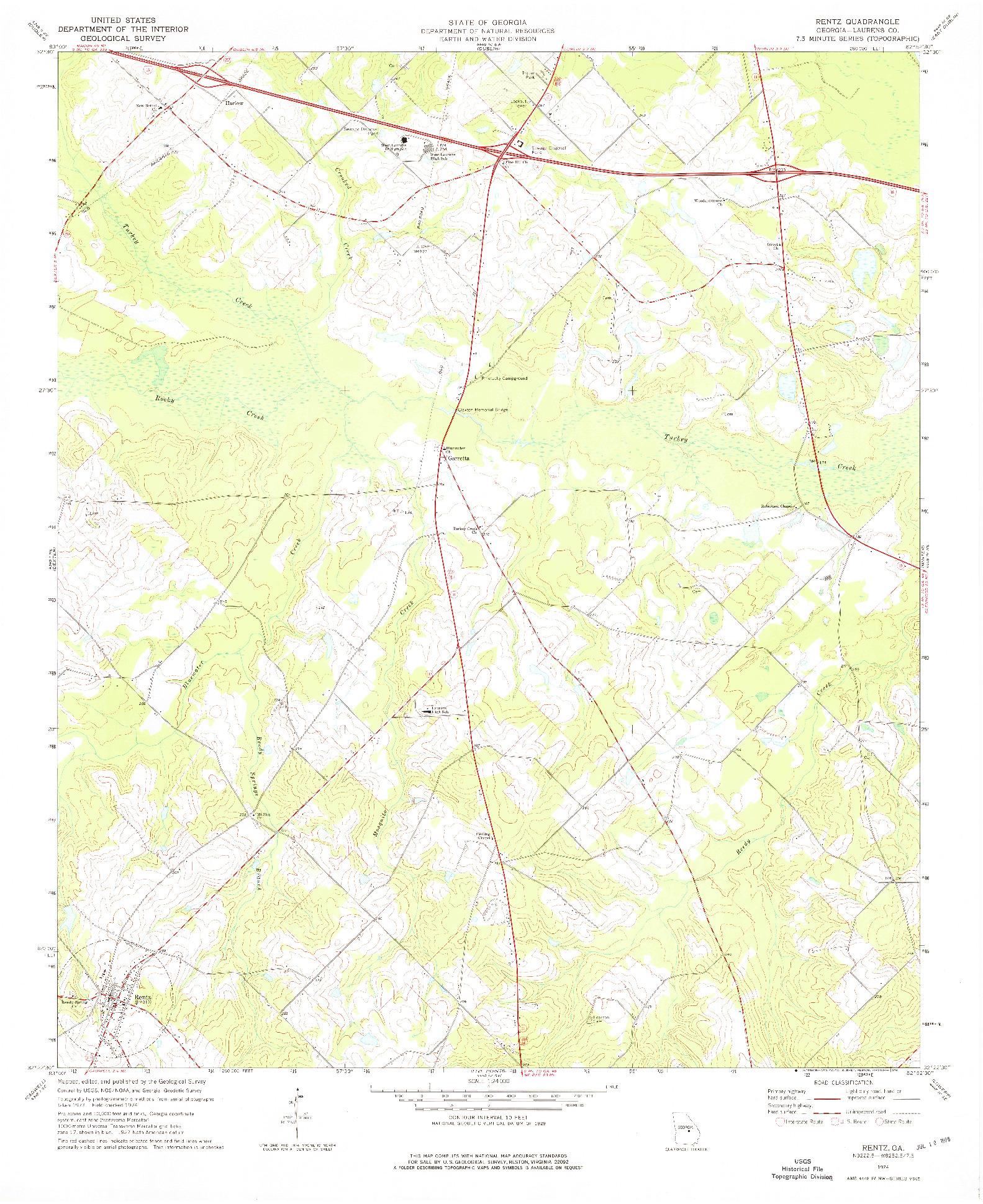 USGS 1:24000-SCALE QUADRANGLE FOR RENTZ, GA 1974