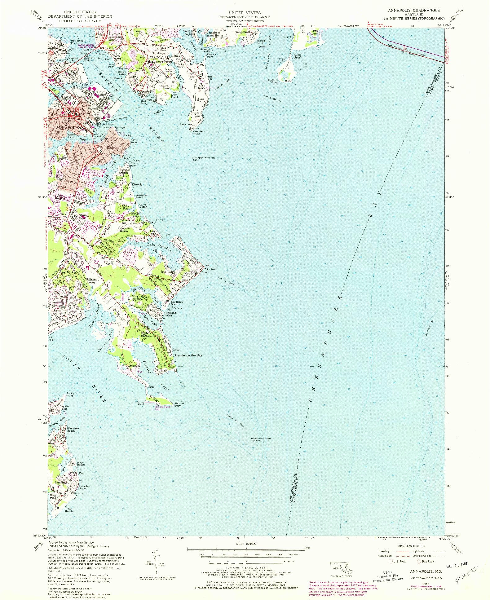 USGS 1:24000-SCALE QUADRANGLE FOR ANNAPOLIS, MD 1957