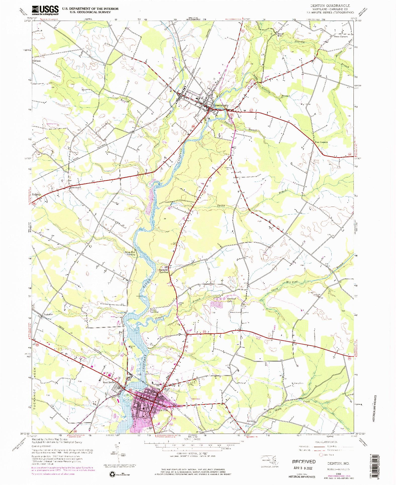 USGS 1:24000-SCALE QUADRANGLE FOR DENTON, MD 1944