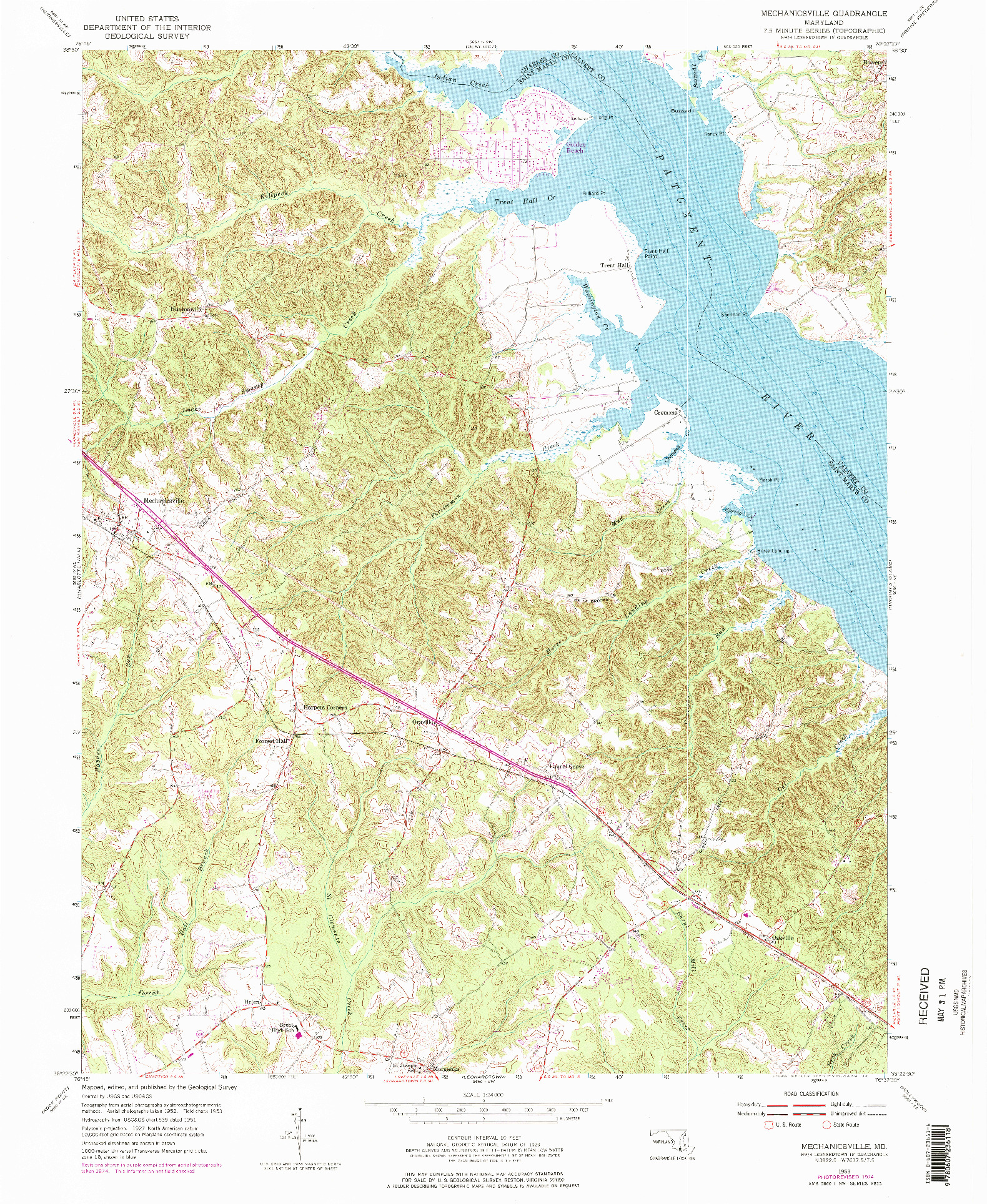 USGS 1:24000-SCALE QUADRANGLE FOR MECHANICSVILLE, MD 1953