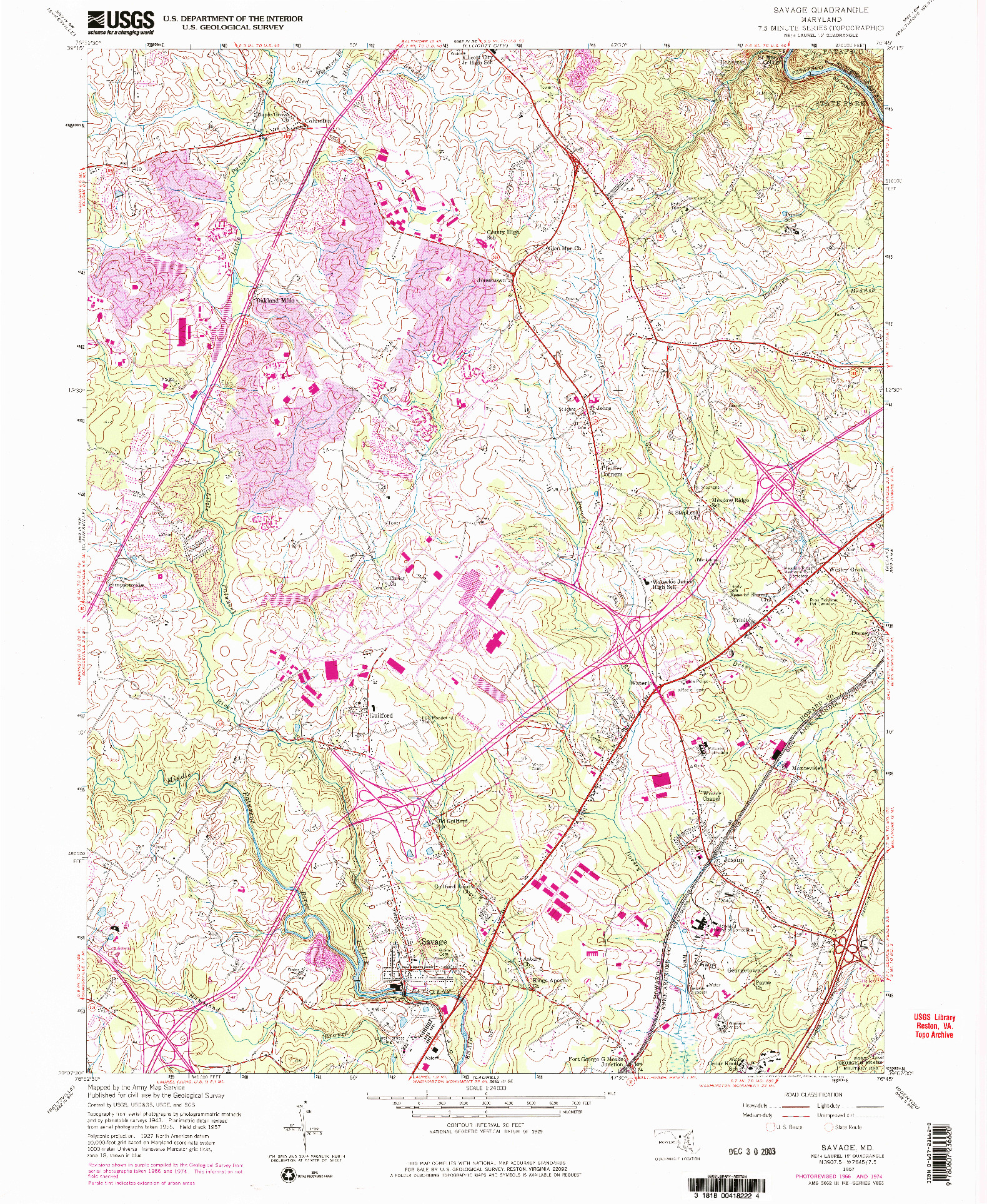 USGS 1:24000-SCALE QUADRANGLE FOR SAVAGE, MD 1957