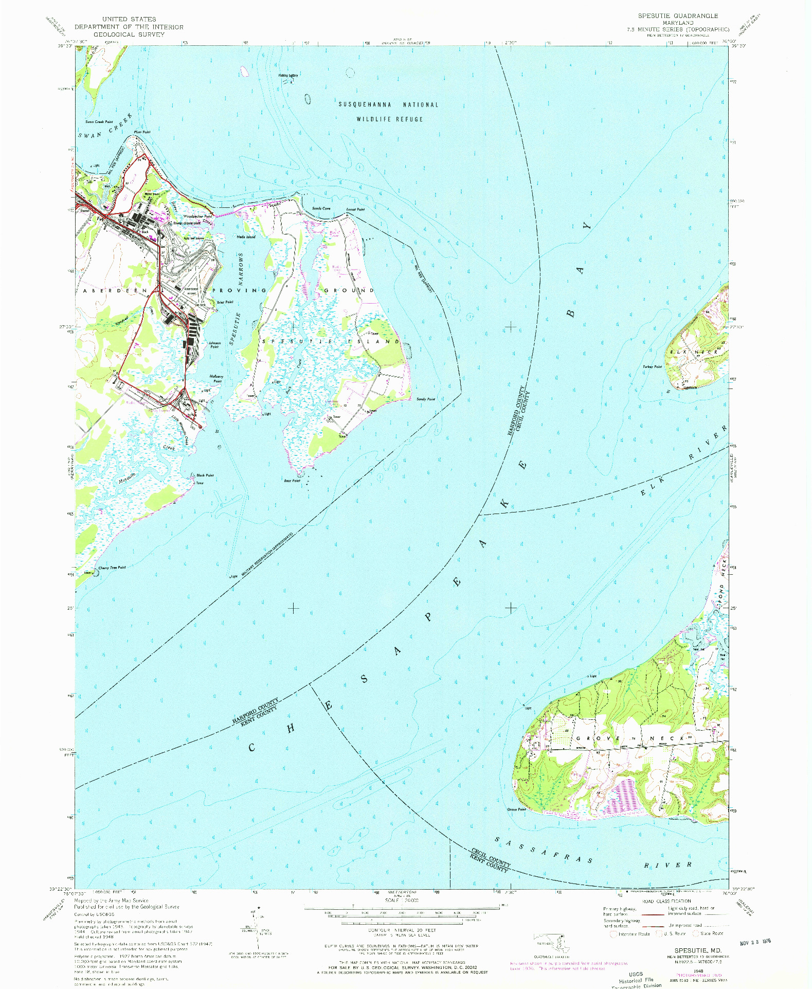 USGS 1:24000-SCALE QUADRANGLE FOR SPESUTIE, MD 1948