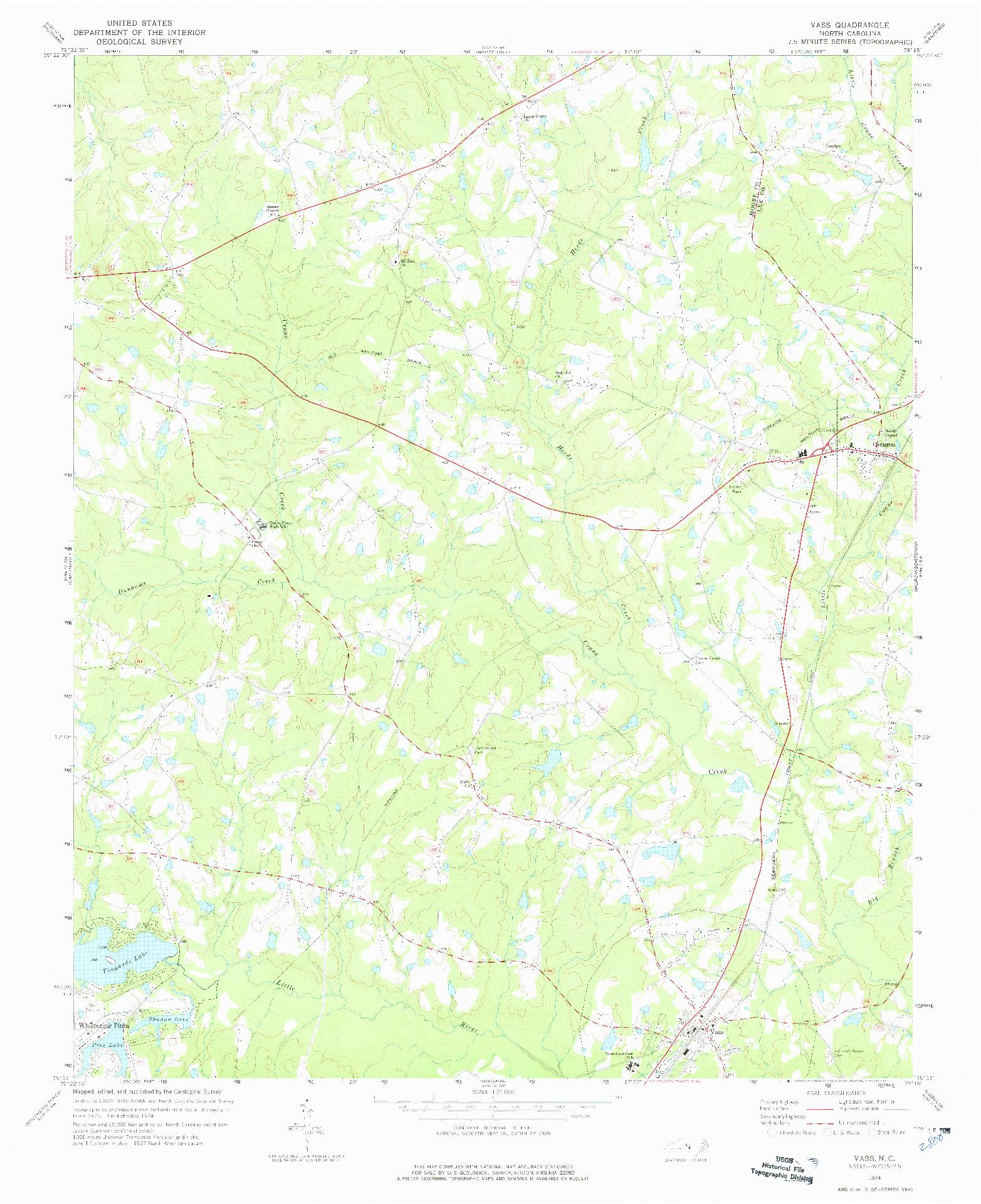 USGS 1:24000-SCALE QUADRANGLE FOR VASS, NC 1974