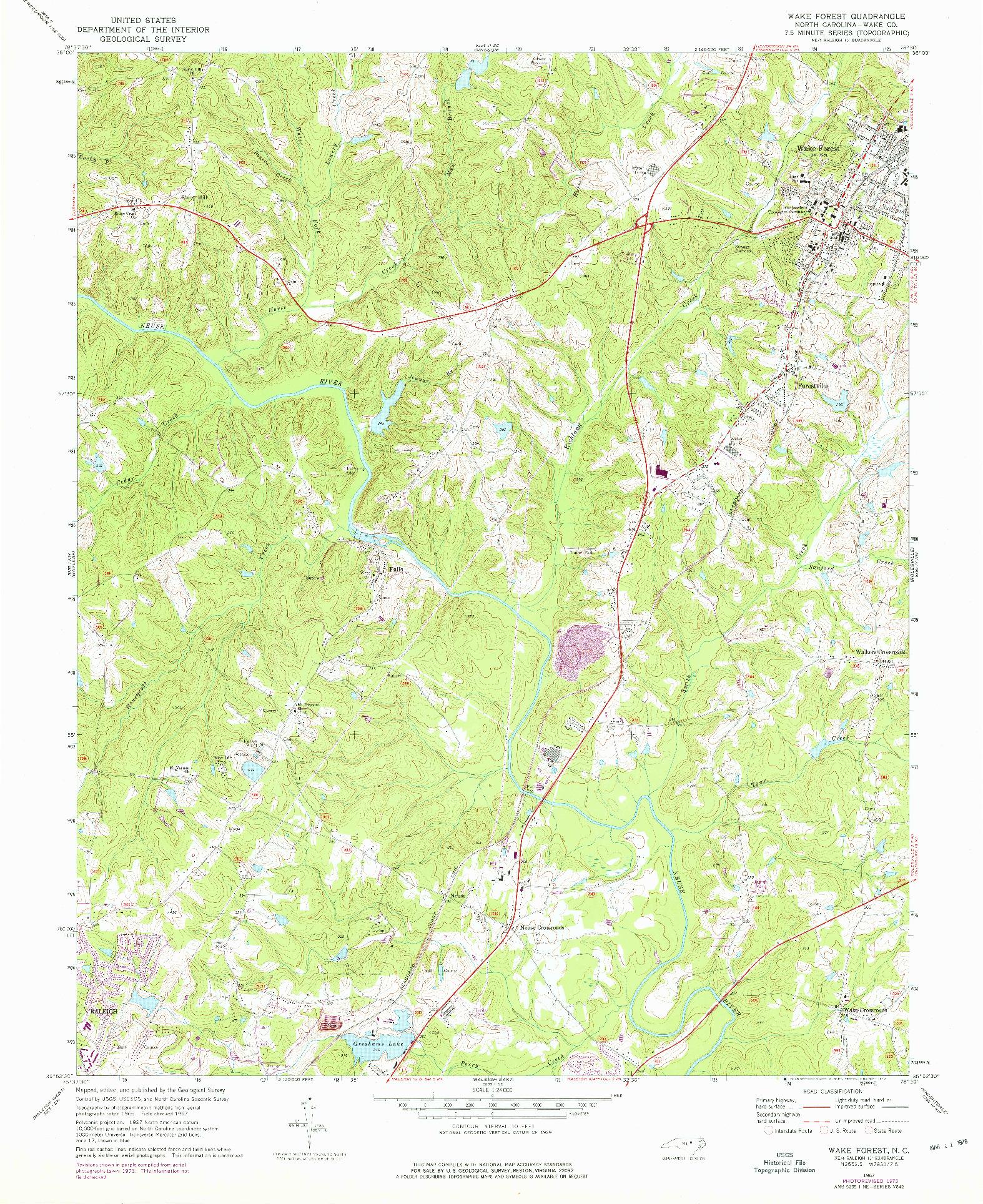 USGS 1:24000-SCALE QUADRANGLE FOR WAKE FOREST, NC 1967