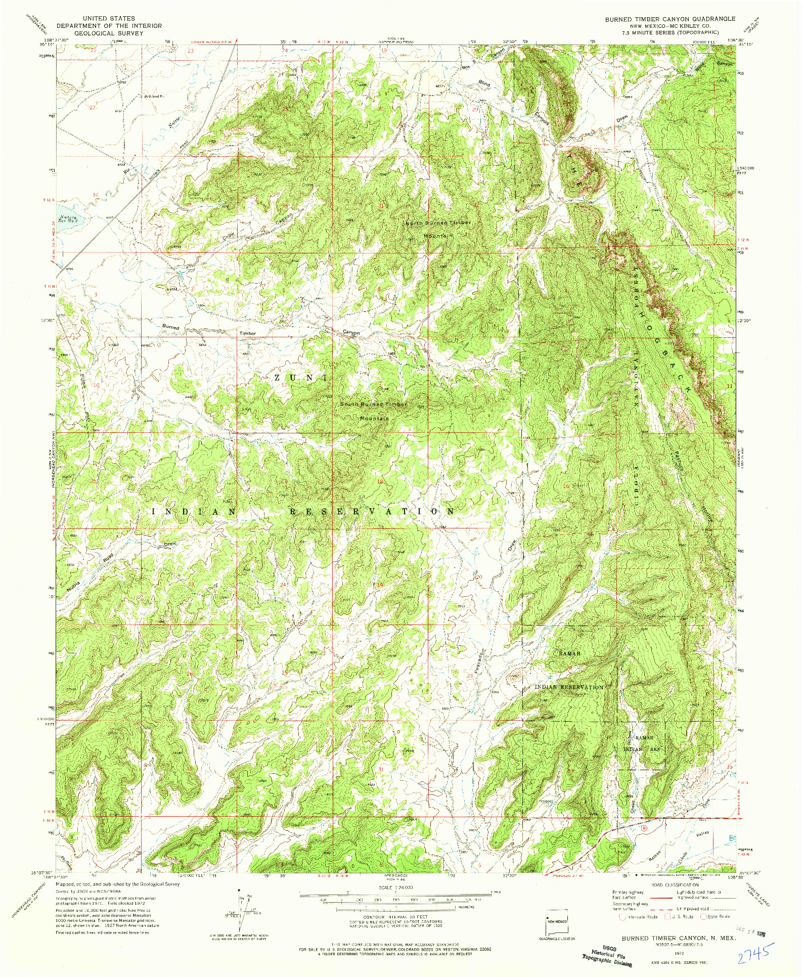 USGS 1:24000-SCALE QUADRANGLE FOR BURNED TIMBER CANYON, NM 1972