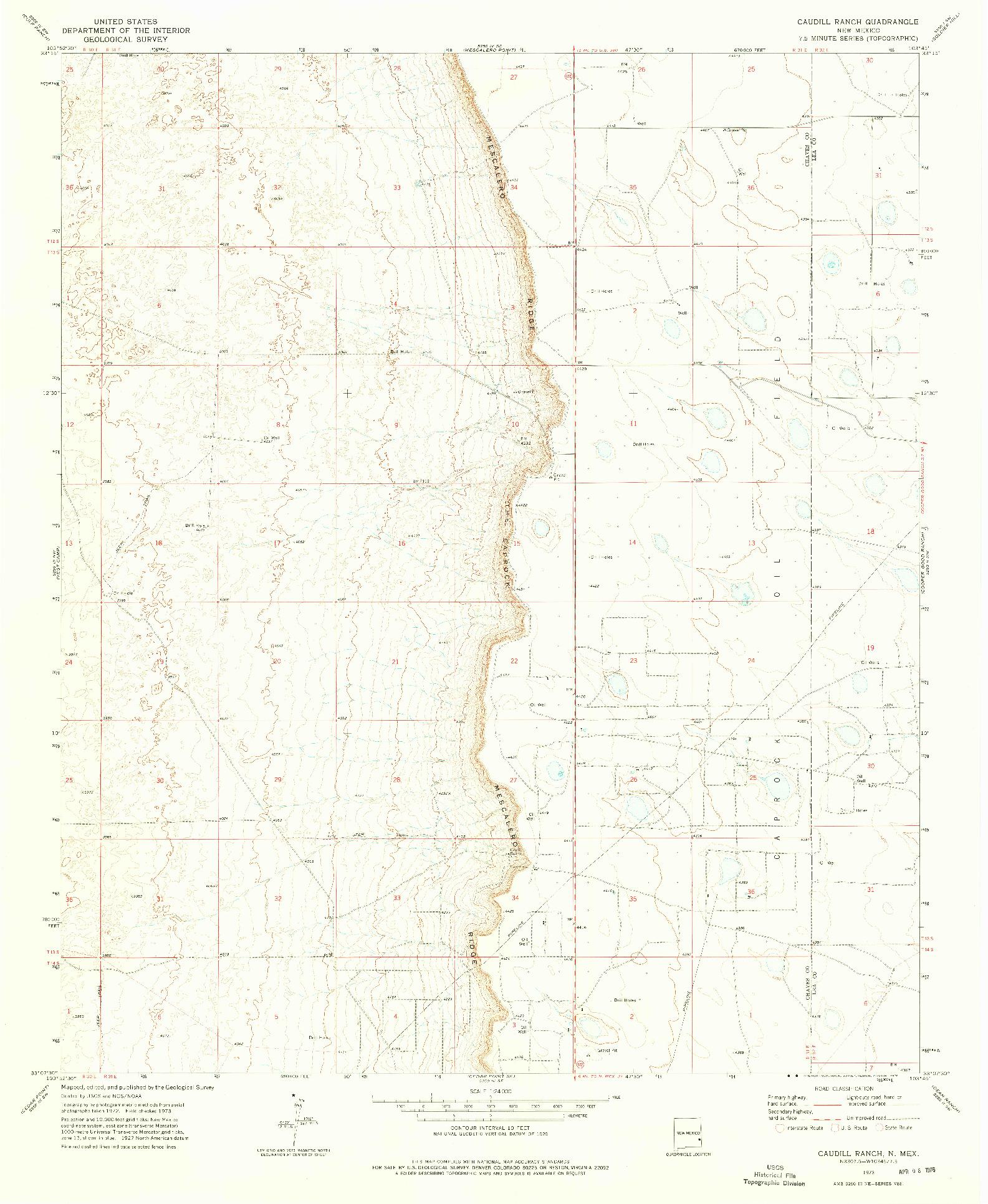 USGS 1:24000-SCALE QUADRANGLE FOR CAUDILL RANCH, NM 1973